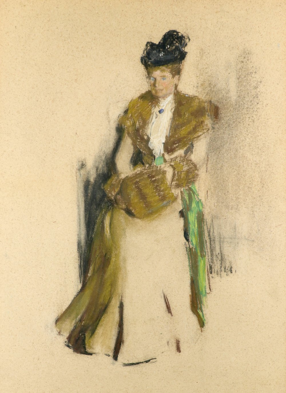 Circle of Sir James Guthrie Study of a lady wearing a fur-lined coat and black hat, and holding a