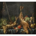 Pieter Boel (Dutch 1662-1674) Still life with dead game, fruit and vegetables, and a gun on a