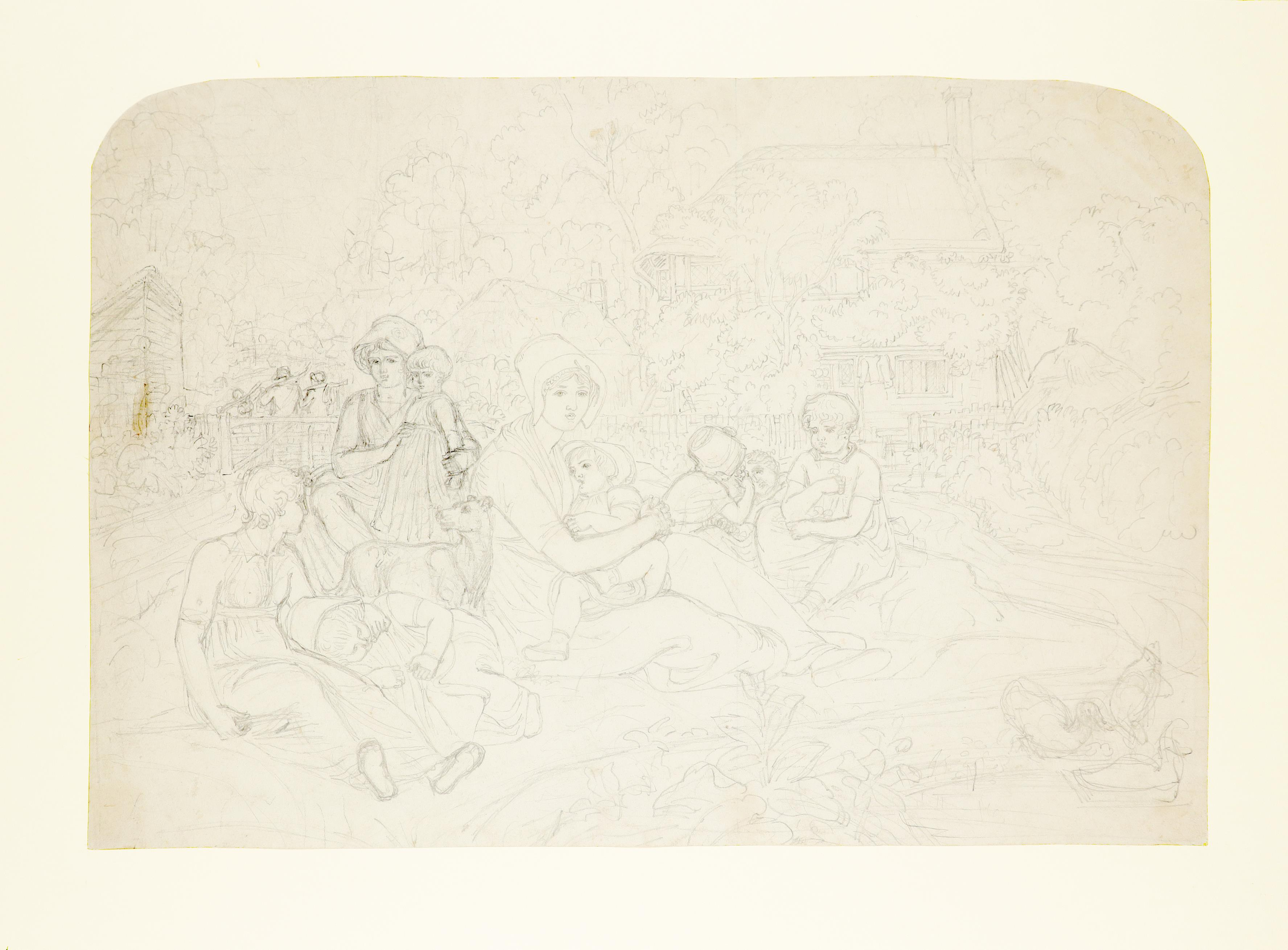 Joshua Cristall (c.1767-1847) Sketch of figures before a cottage Pencil 30 x 44cm; 11¾ x 17¾in - Image 2 of 3