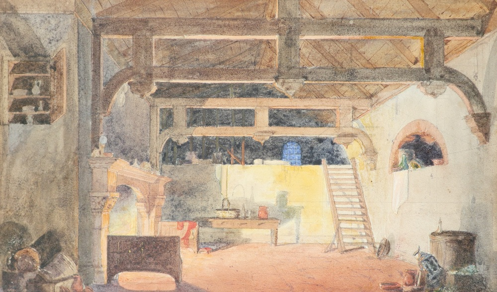 English School 19th Century Nocturnal scene of an interior with a beamed roof Watercolour and pencil