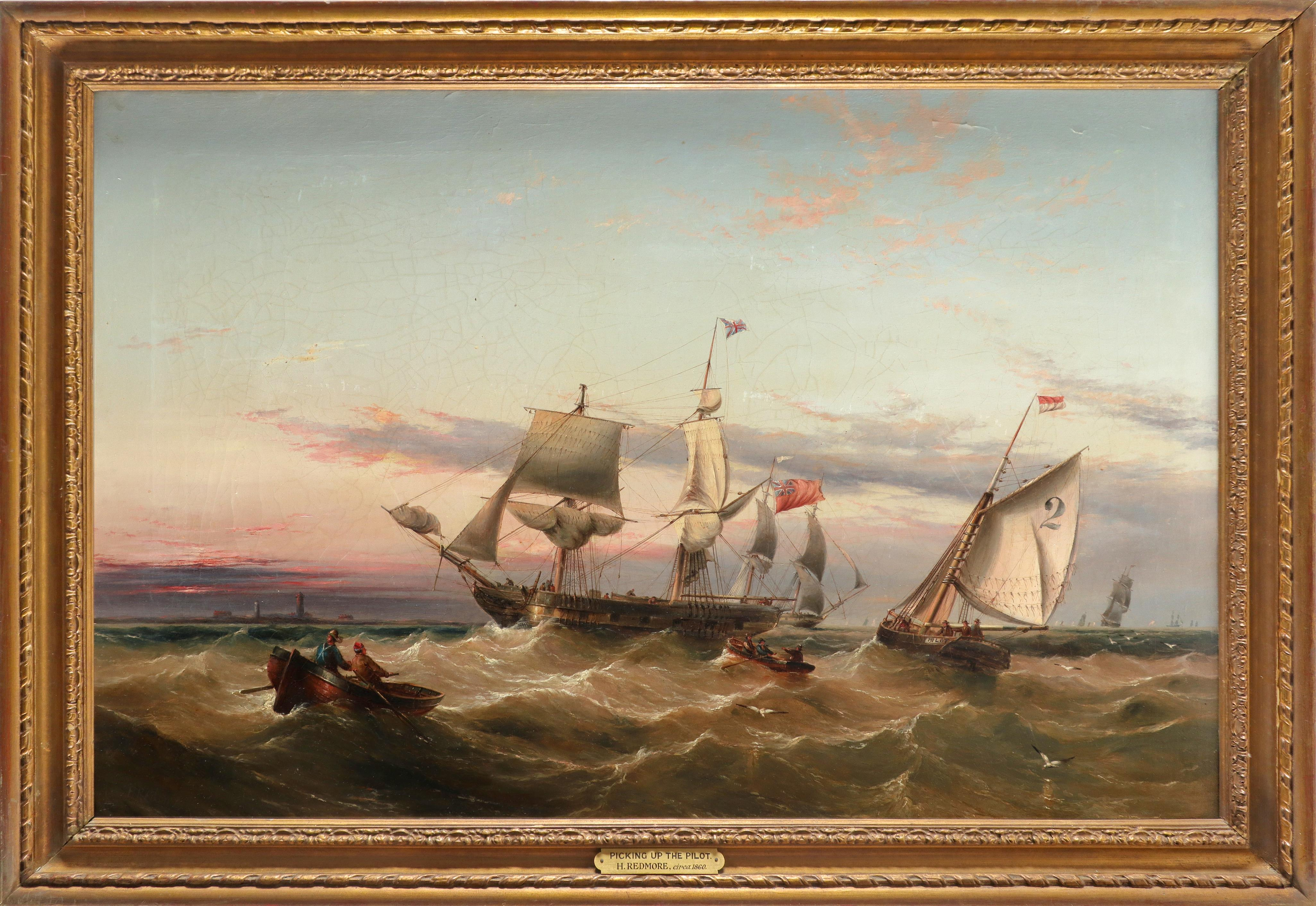 Henry Redmore (1820-1888) Picking up the pilot Signed H Redmore (lower left) Oil on canvas 58 x - Image 2 of 3