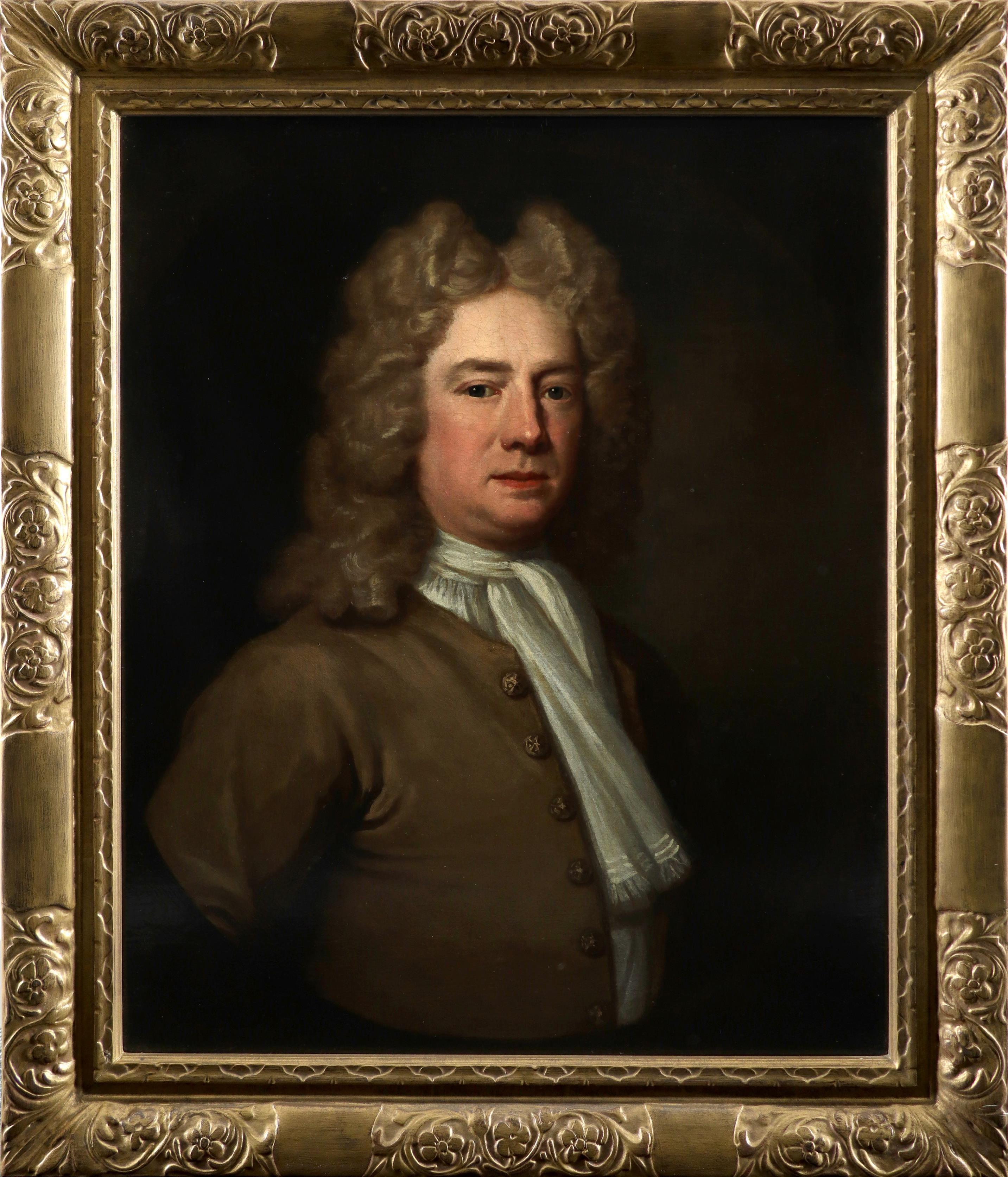 Attributed to Richard van Bleeck (Dutch 1670-1733) Portrait of a gentleman wearing a brown coat, - Image 2 of 3