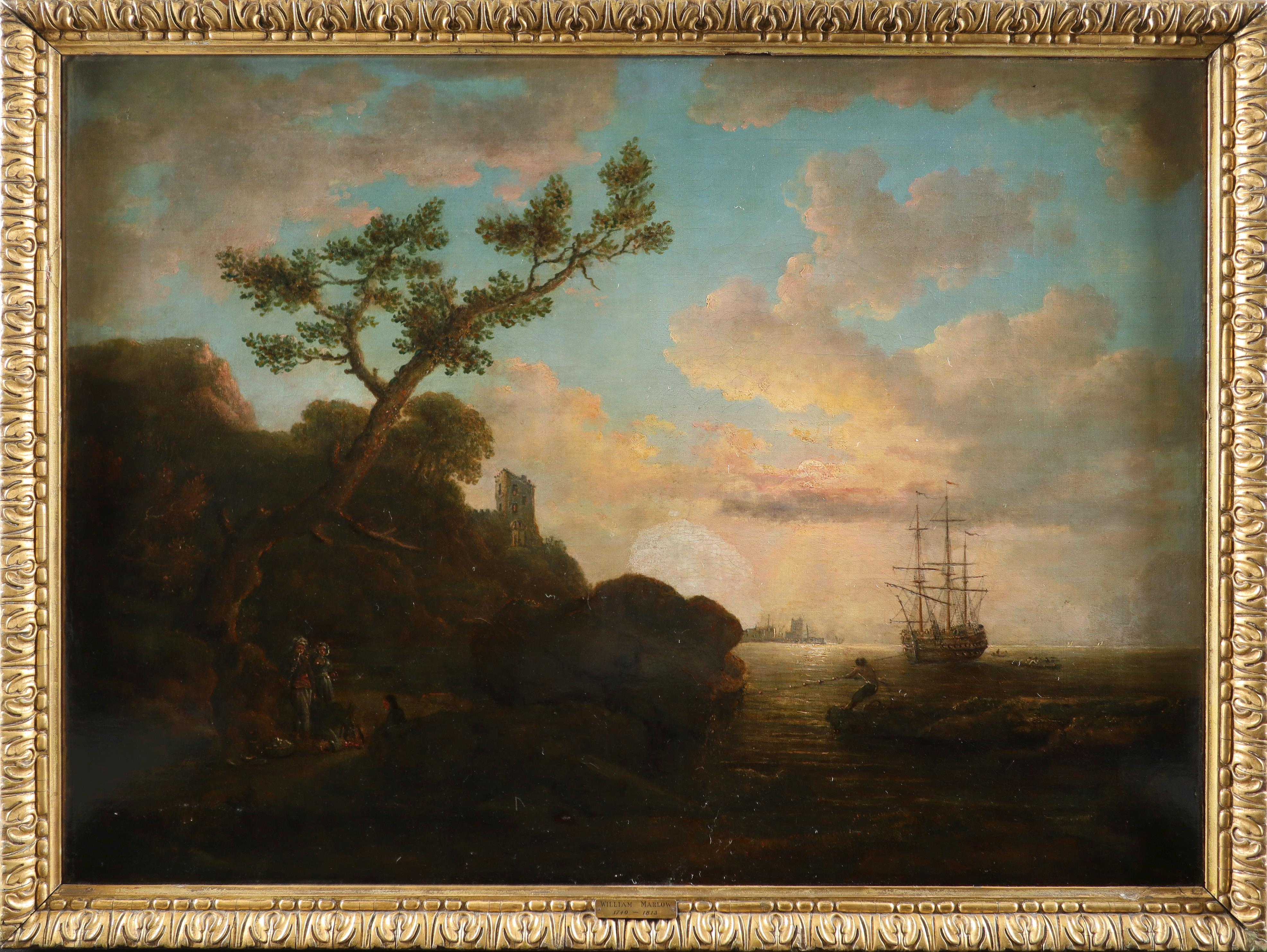 English School 18th Century Coastal landscape with figures on the shore around a camp fire, shipping - Image 2 of 3