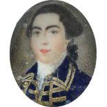 λEnglish School Late 18th Century Portrait miniature of a gentleman wearing a brocade trimmed blue