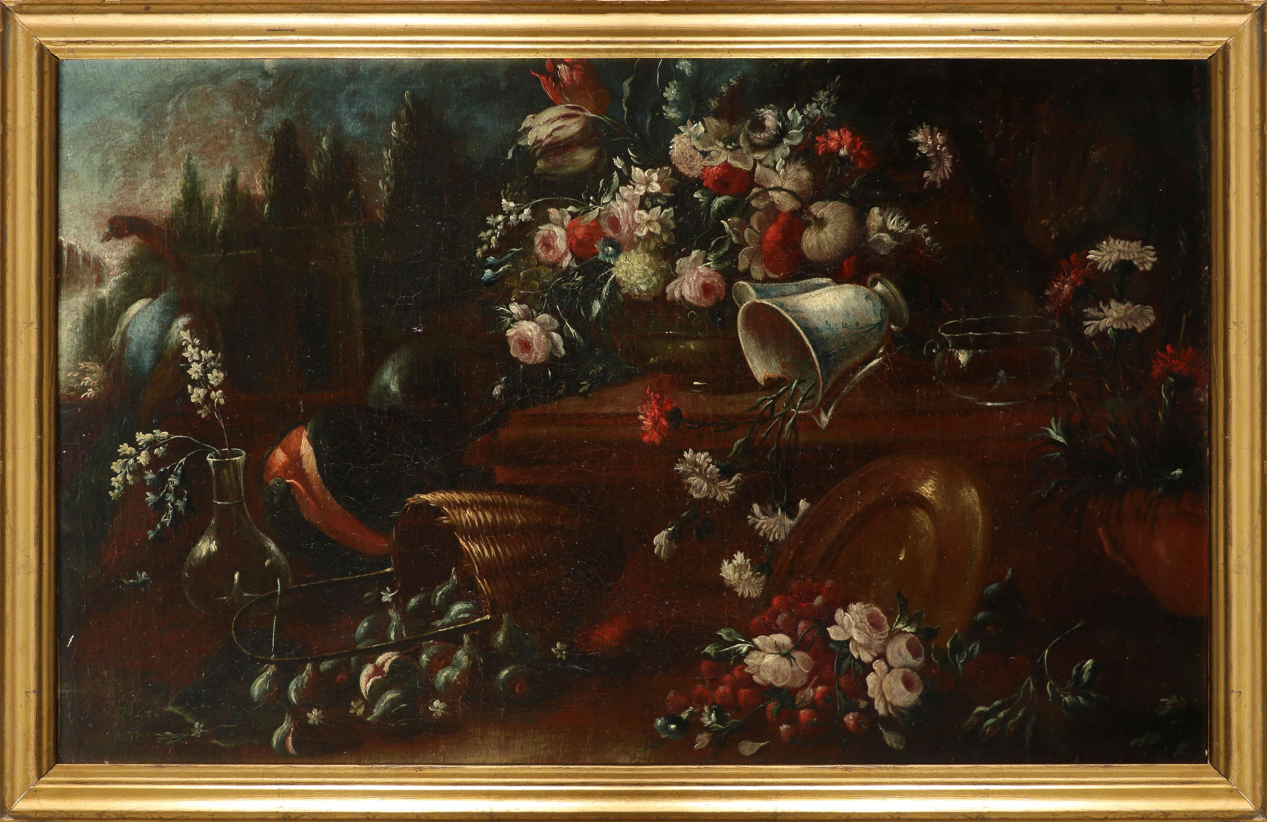 Follower of Pieter Casteels III Still life in an ornamental parkland, with flowers, burst fruit - Image 2 of 3