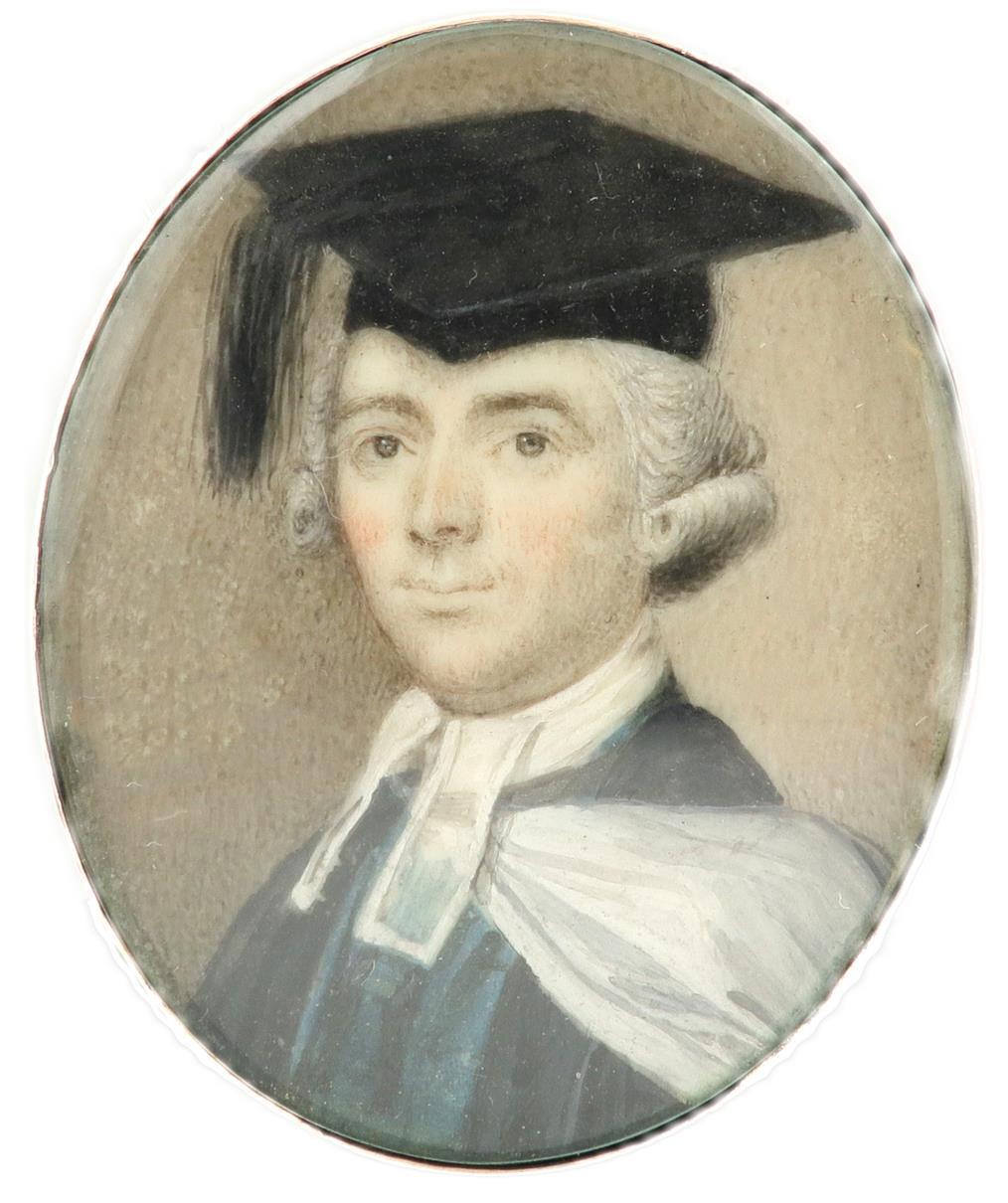 λEnglish School c.1770 Portrait miniature of a gentleman in the dress of Cambridge regent MA Oval, - Image 2 of 3