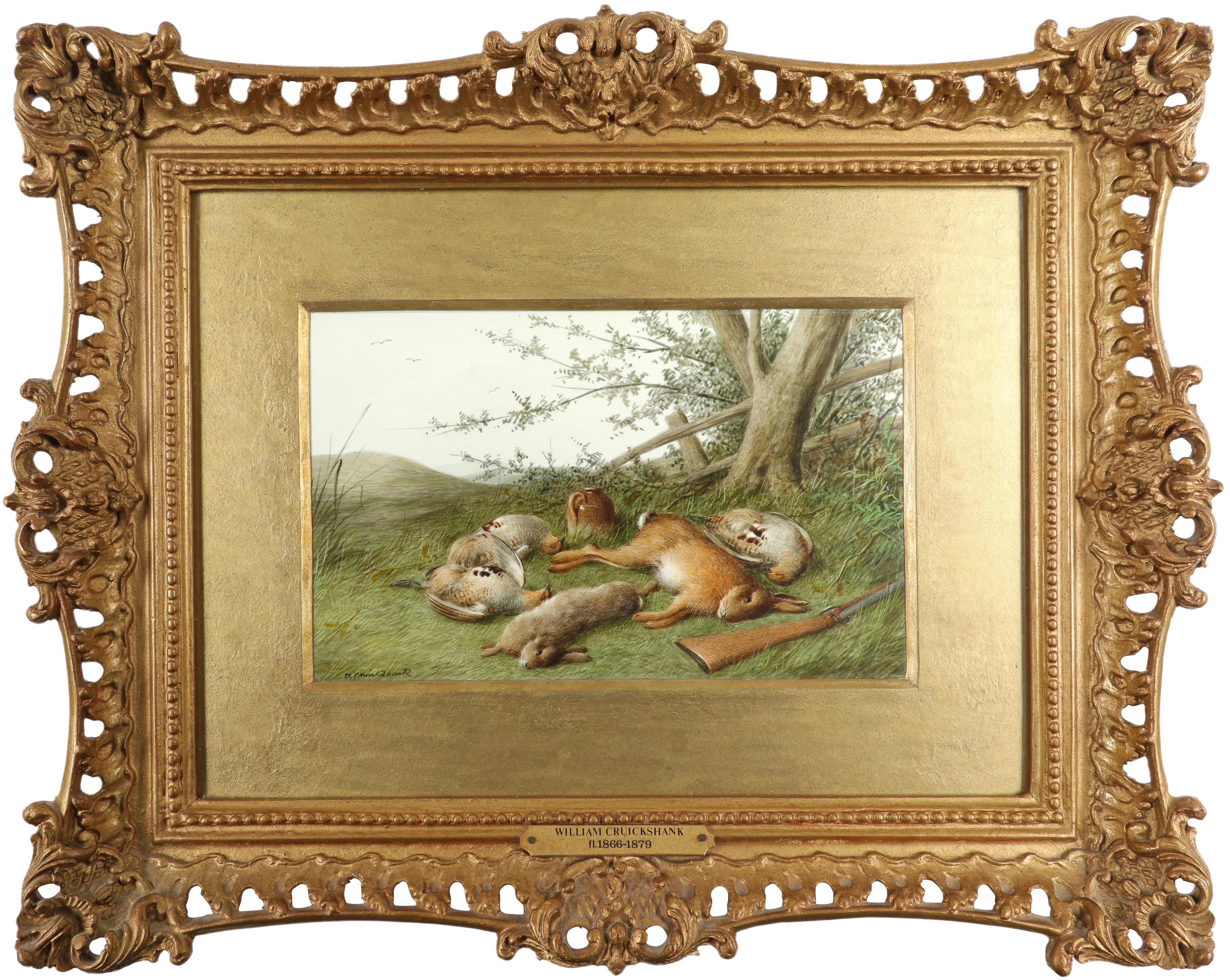 λWilliam Cruickshank (1848-1922) Hunter and his spaniel; Spaniel and two hares; The day's bag; Three - Image 8 of 12