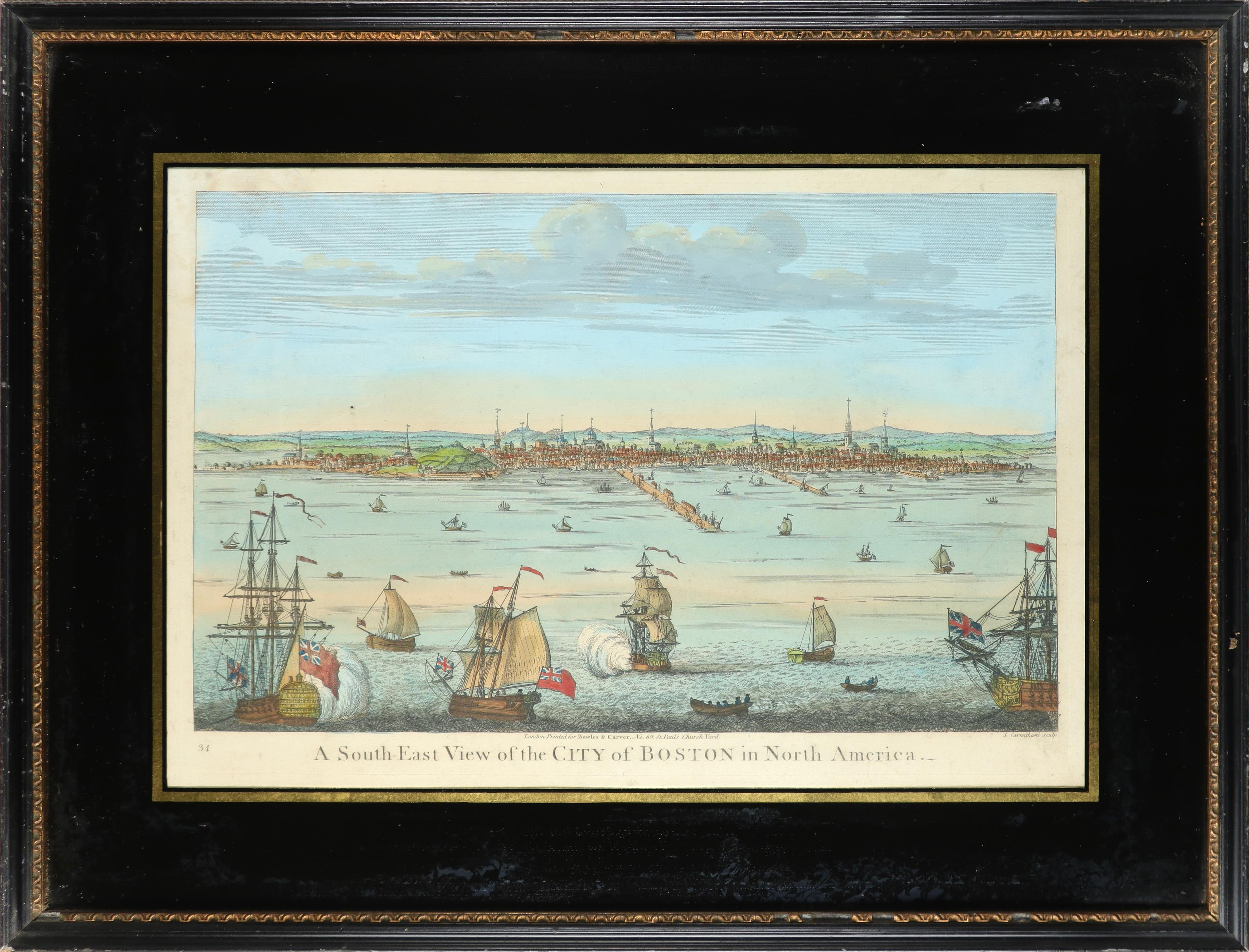 John Carwitham (act. 1723-1741) A South-East View of the City of Boston in North America Engraving - Image 2 of 9