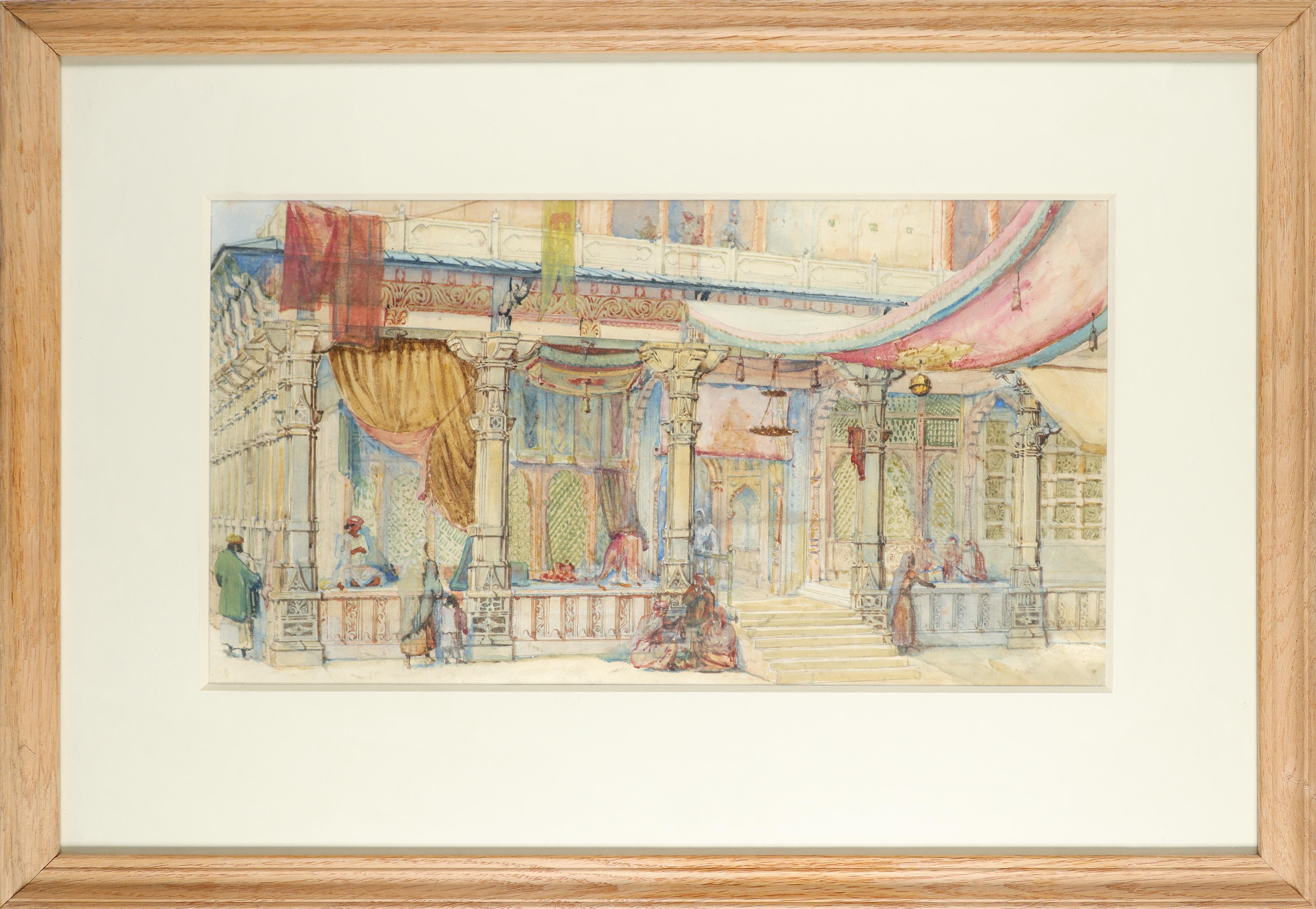 English School 19th Century Orientalist scene with figures outside a souk Pencil and watercolour - Image 2 of 3