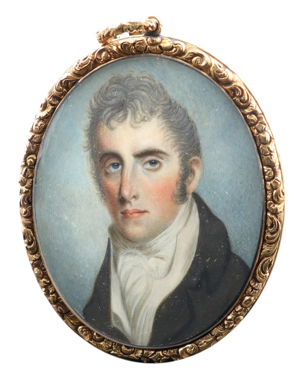 λEnglish School c.1810 Portrait miniature of a gentleman wearing a black coat and cream waistcoat