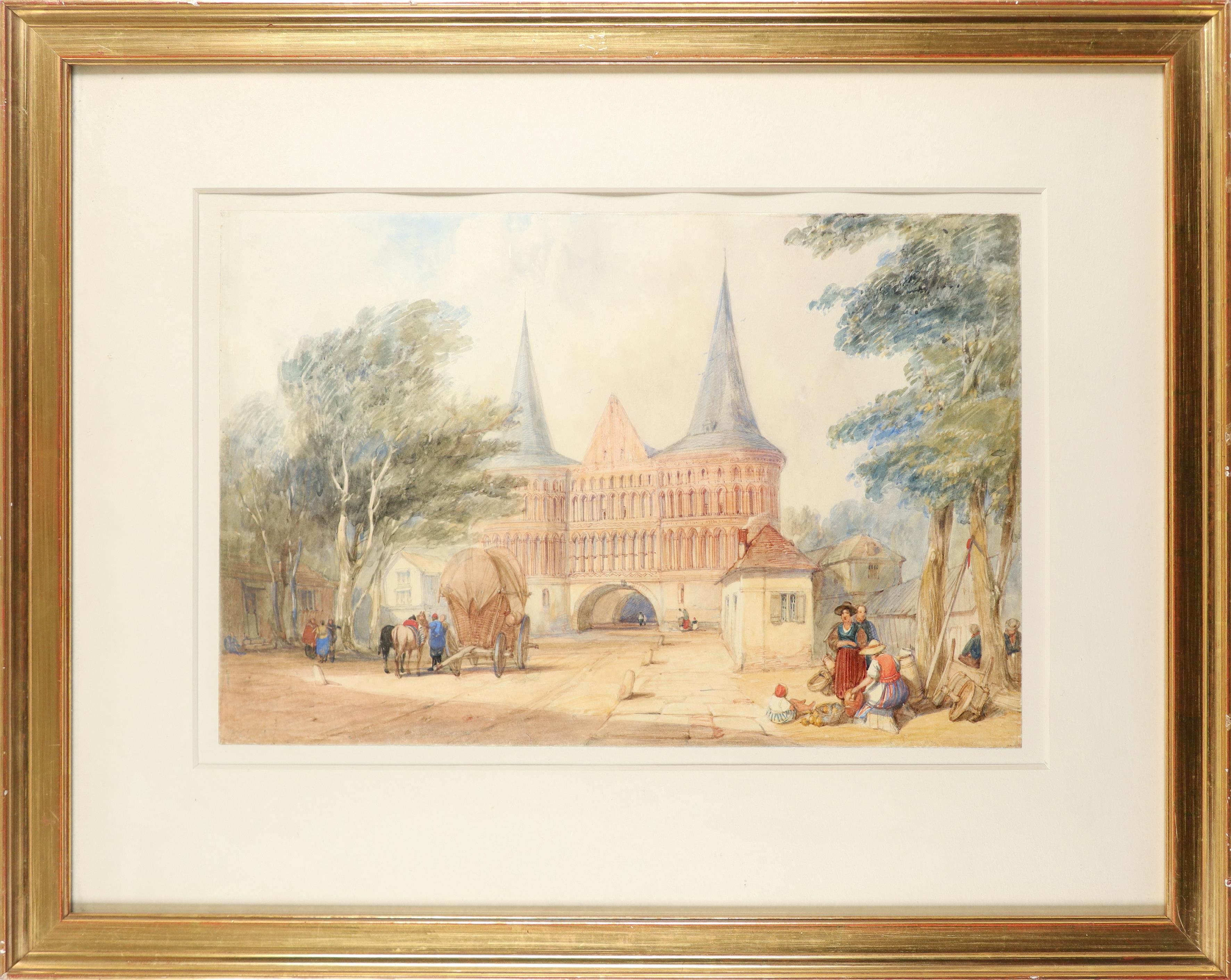 Alfred Gomersal Vickers (1810-1837) The Holsten Gate, Lübeck Watercolour heightened with - Image 2 of 3