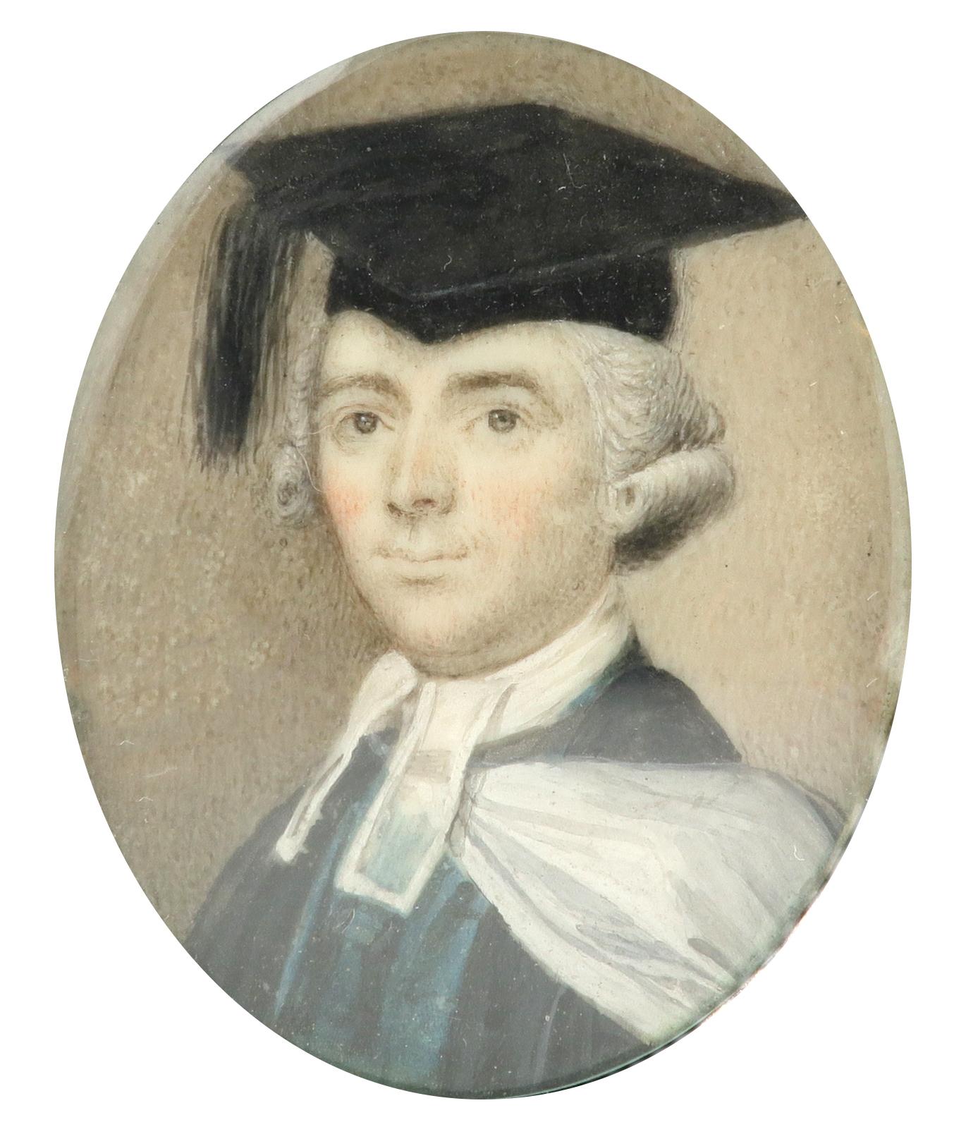 λEnglish School c.1770 Portrait miniature of a gentleman in the dress of Cambridge regent MA Oval,