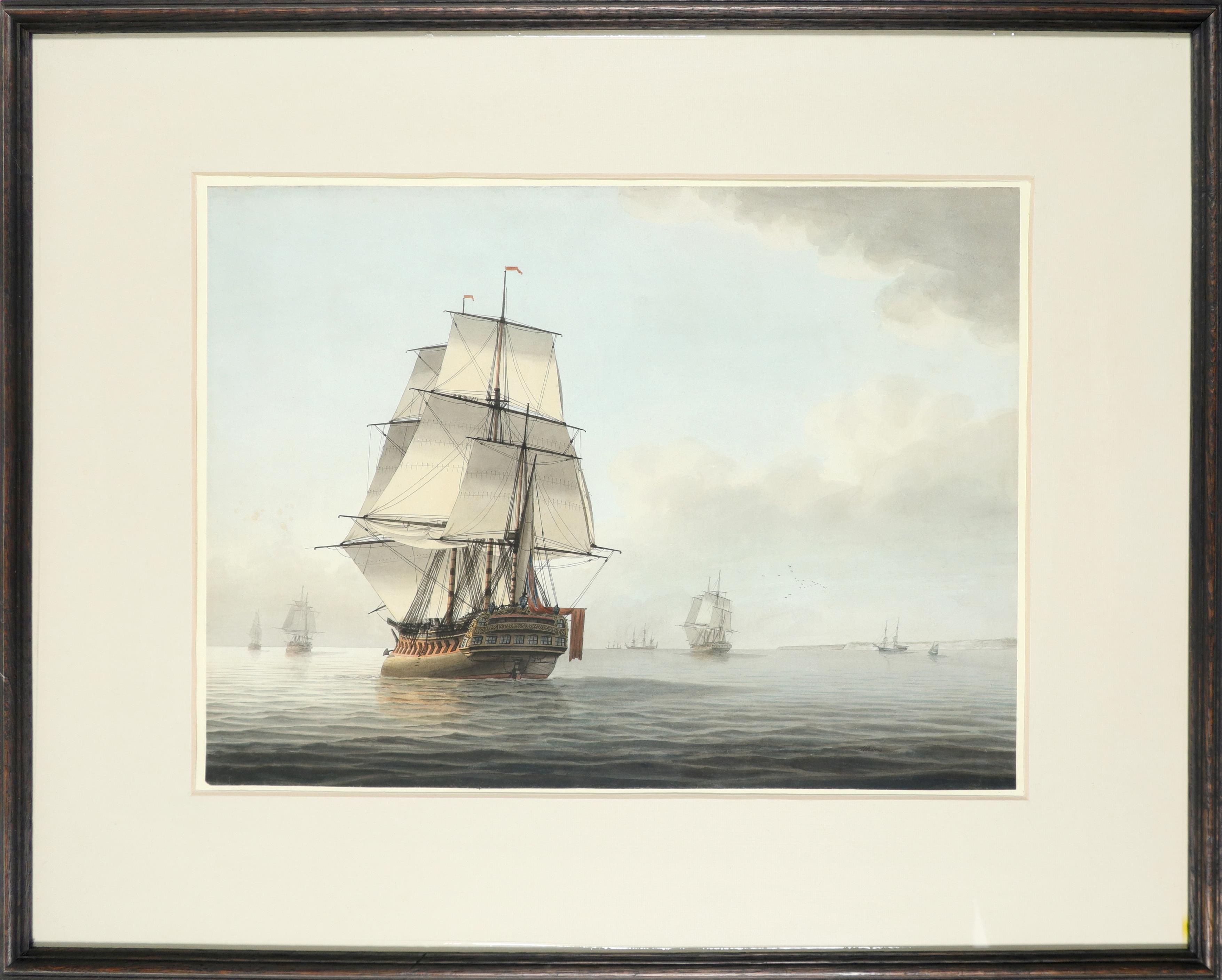 Samuel Atkins (act.1787-1808) A frigate and other shipping in calm waters Signed Atkins (lower - Image 2 of 3