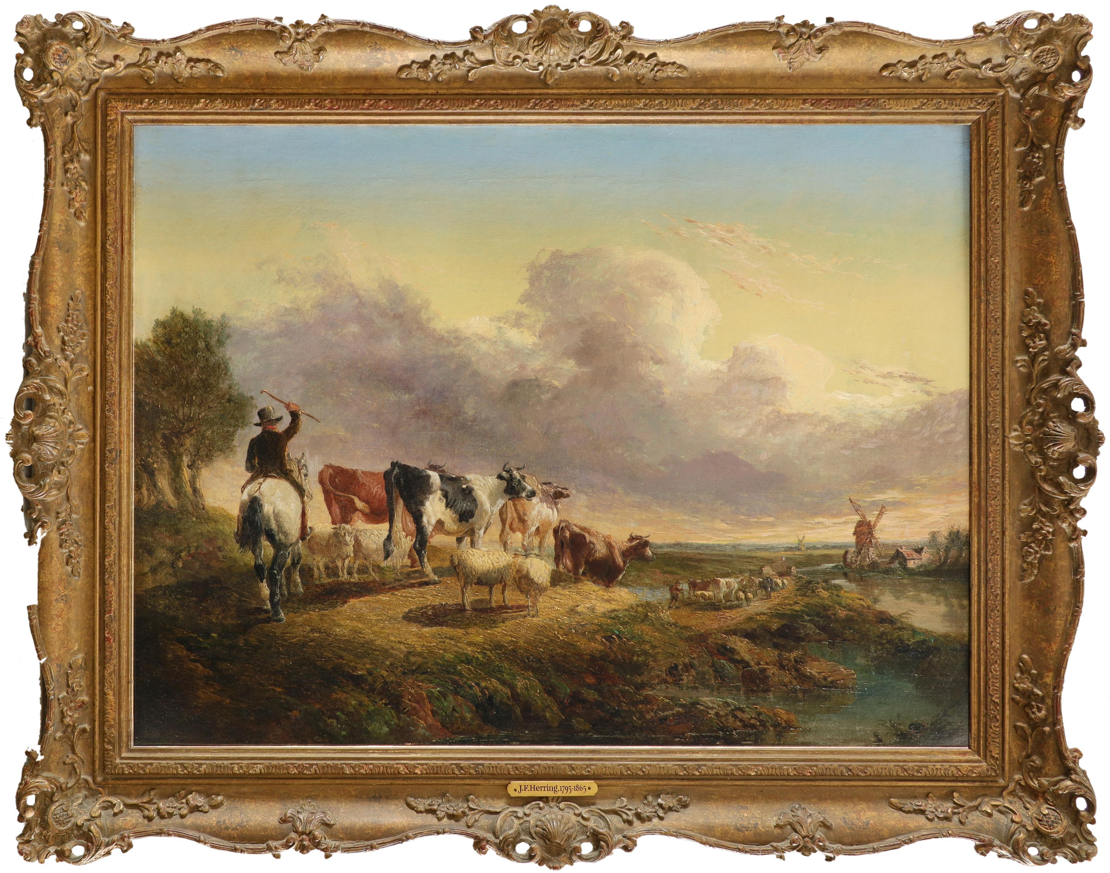 Follower of John Frederick Herring Snr. Taking the flock home at dusk Oil on canvas 44.2 x 59.8cm; - Image 2 of 3