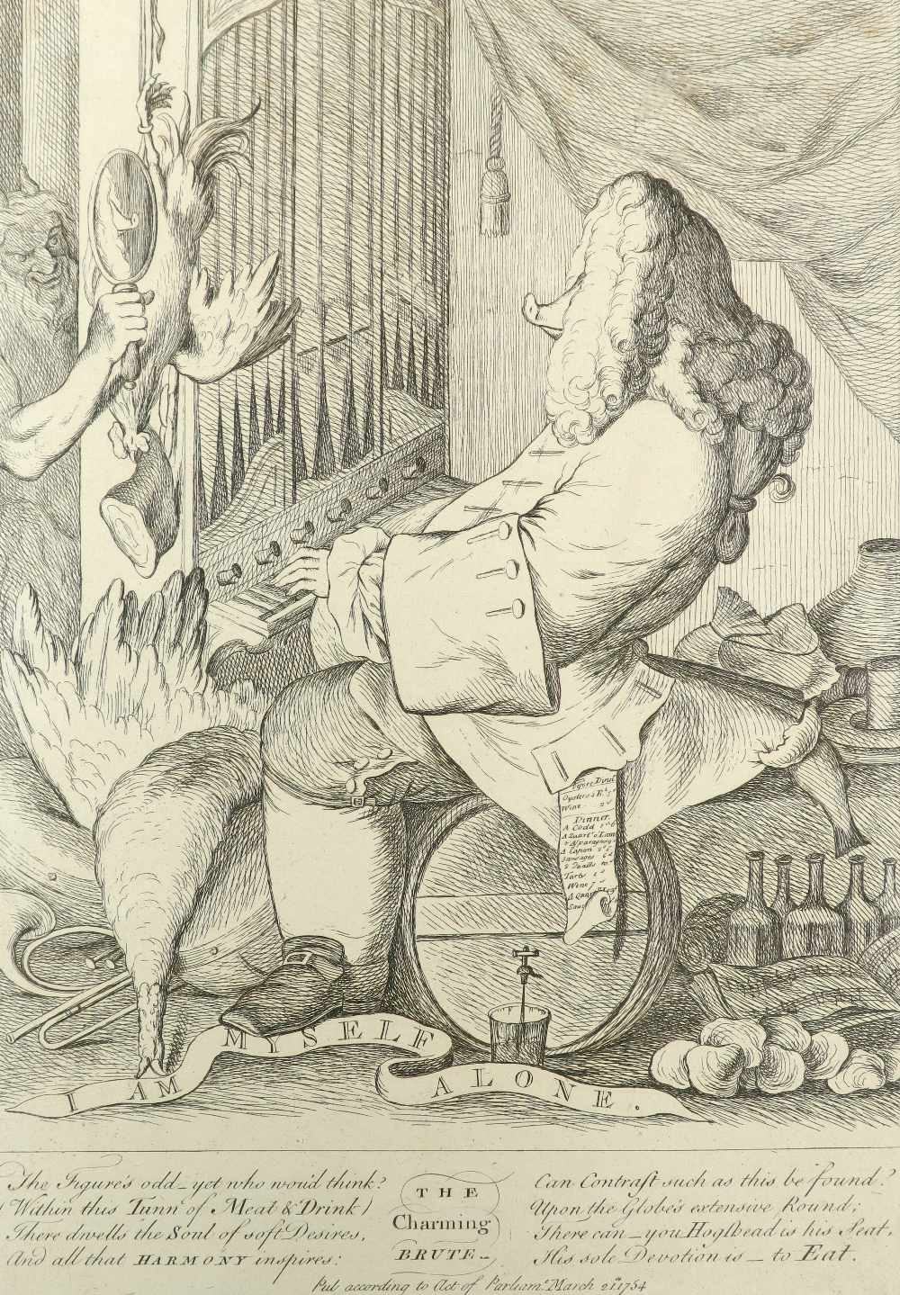 English School 1754 The Charming Brute: A Satire on Handel Etching 33.2 x 23.5cm; 13 x 9¼in (