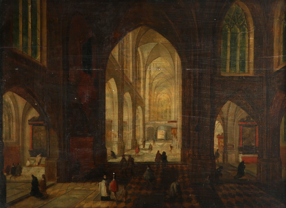 Circle of Pieter Neefs the Elder Interior of a cathedral at night Oil on panel 26.8 x 37cm; 10½ x