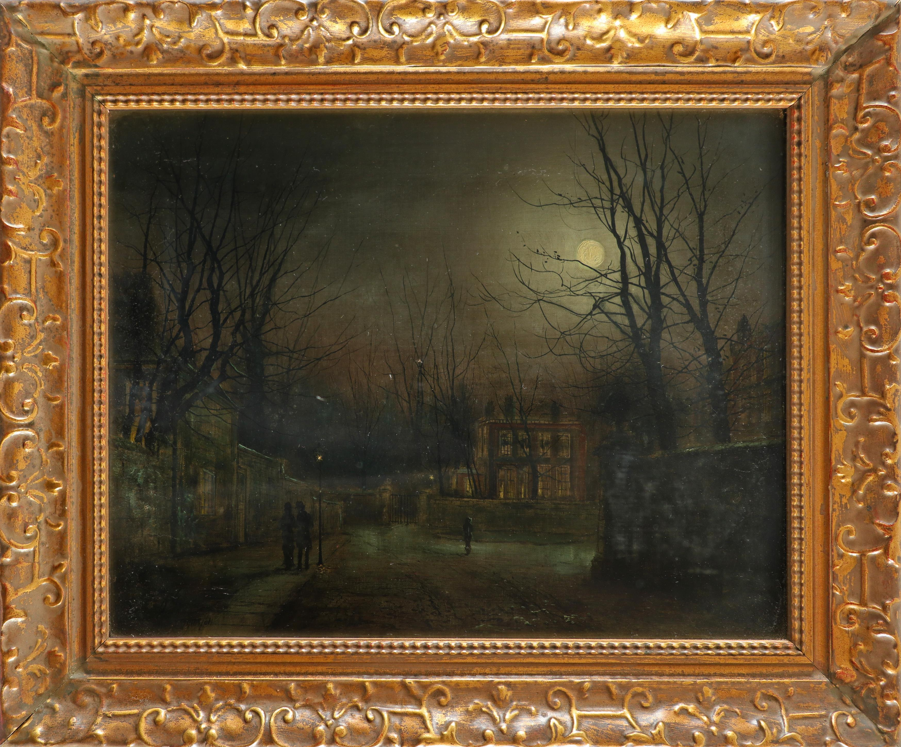 W. Morgan (Late 19th Century) Figures in a moonlit street Signed and dated W Morgan 1881 (lower - Image 2 of 3