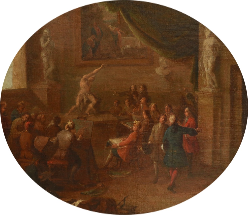 English School Early 18th Century A painting academy, possibly Sir Godfrey Kneller's academy in