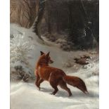 Attributed to Johannes Christian Deiker (German 1822-1895) A fox in the snow Oil on canvas 68.4 x