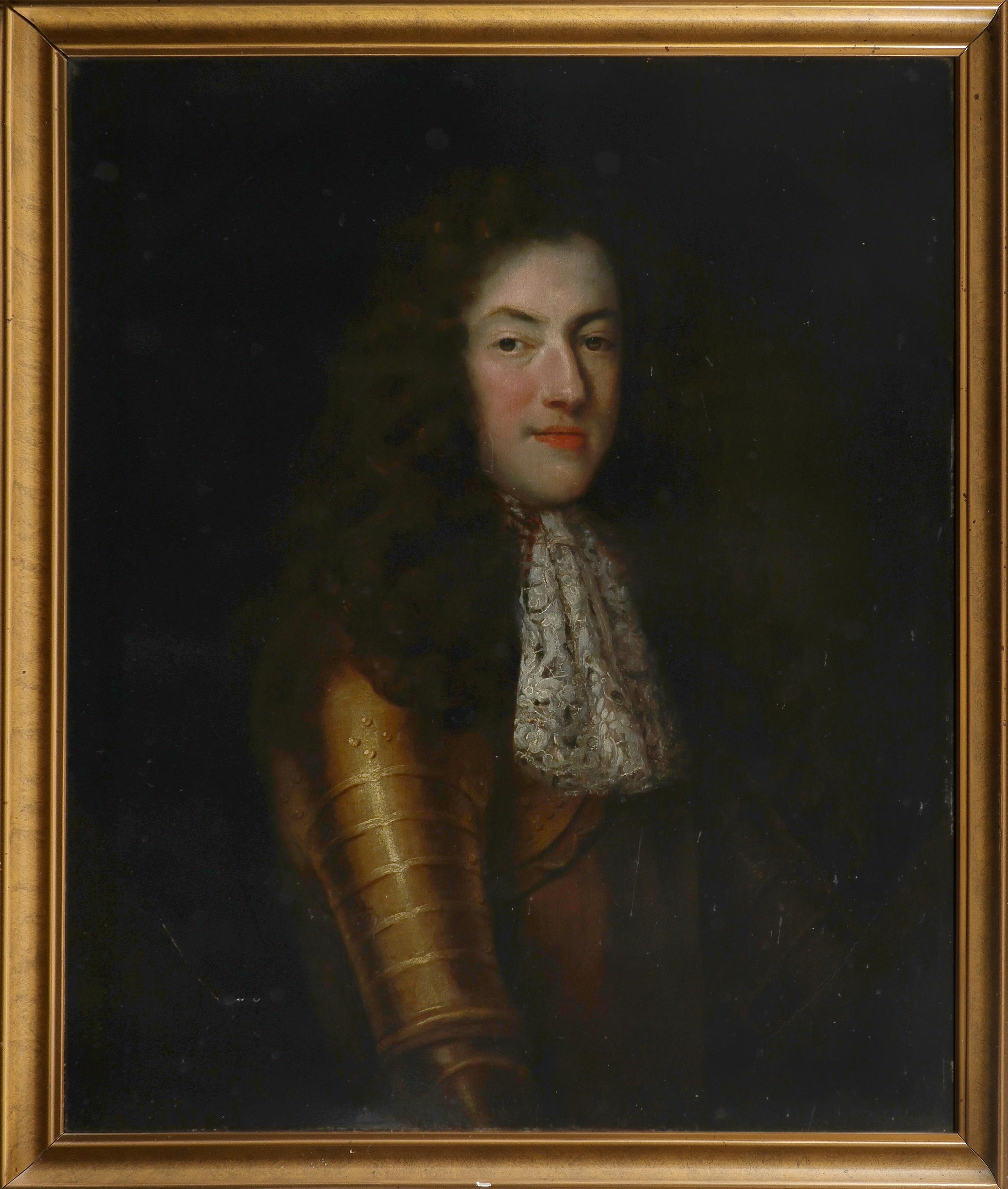 Circle of John Riley Portrait of a gentleman, half-length, in gilded armour in a painted oval Oil on - Image 2 of 3