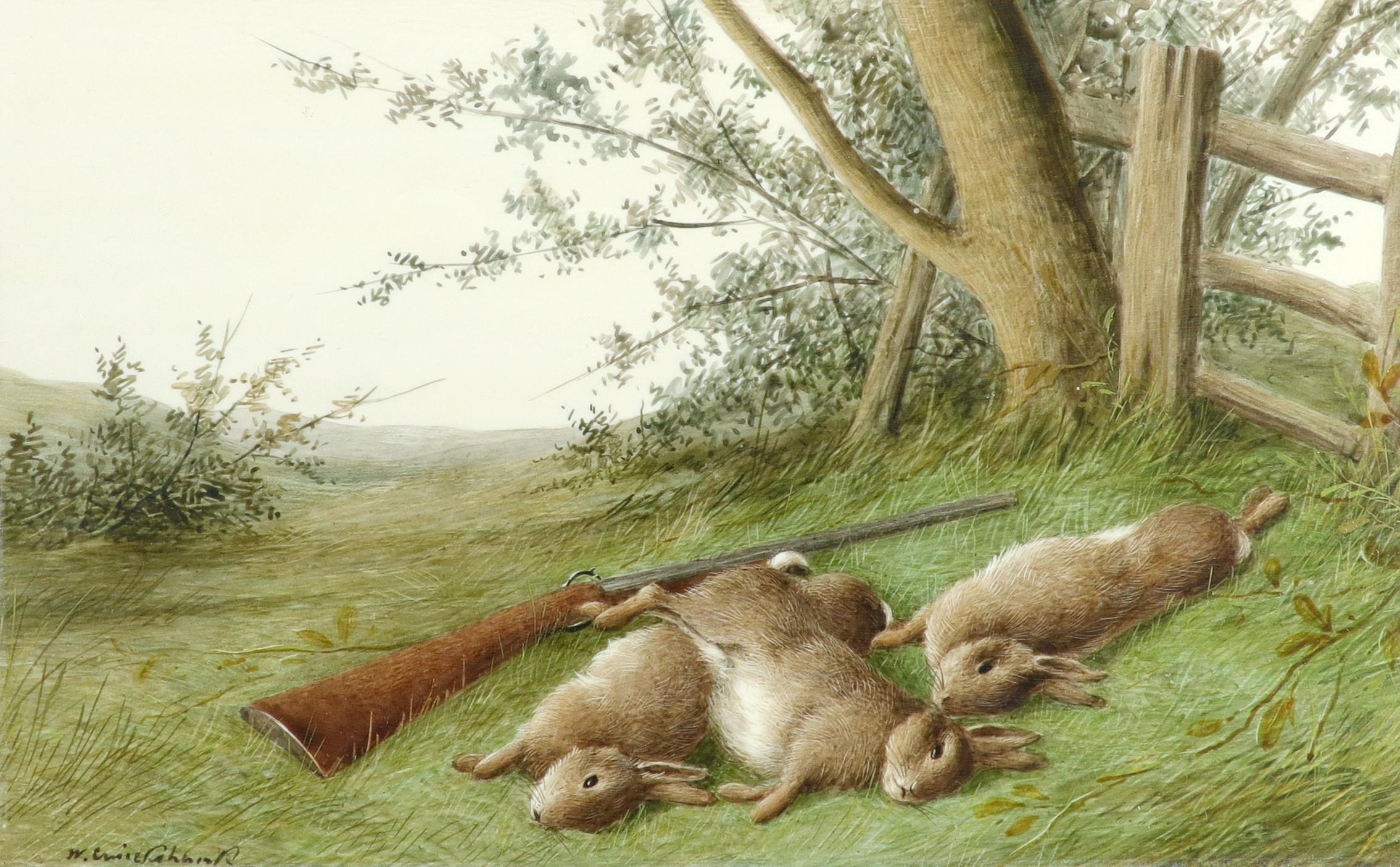 λWilliam Cruickshank (1848-1922) Hunter and his spaniel; Spaniel and two hares; The day's bag; Three - Image 10 of 12