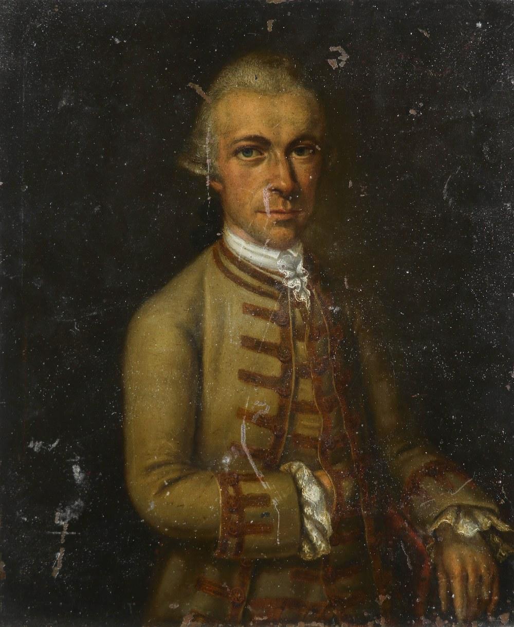 Central European School 18th Century Portrait of a gentleman. half-length, wearing a green coat