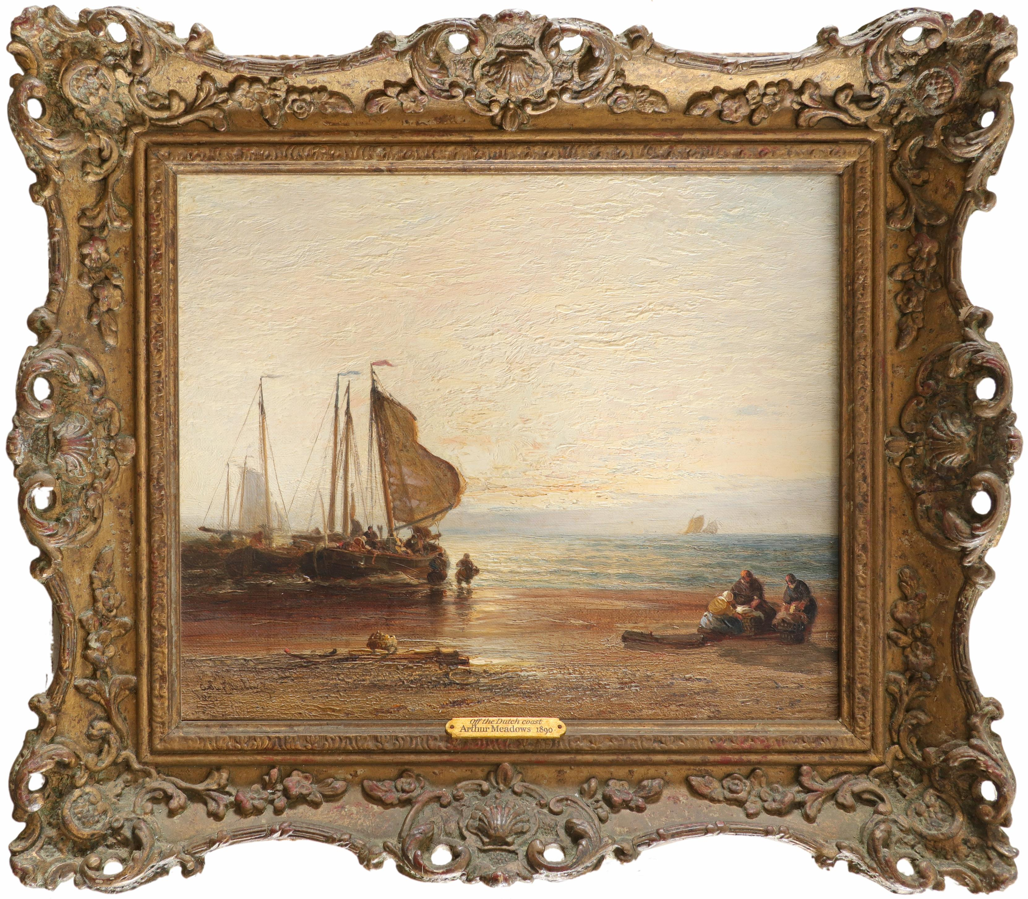 Arthur Joseph Meadows (1843-1907) On the Medway; Off the Dutch coast A pair, both signed and dated - Image 5 of 6