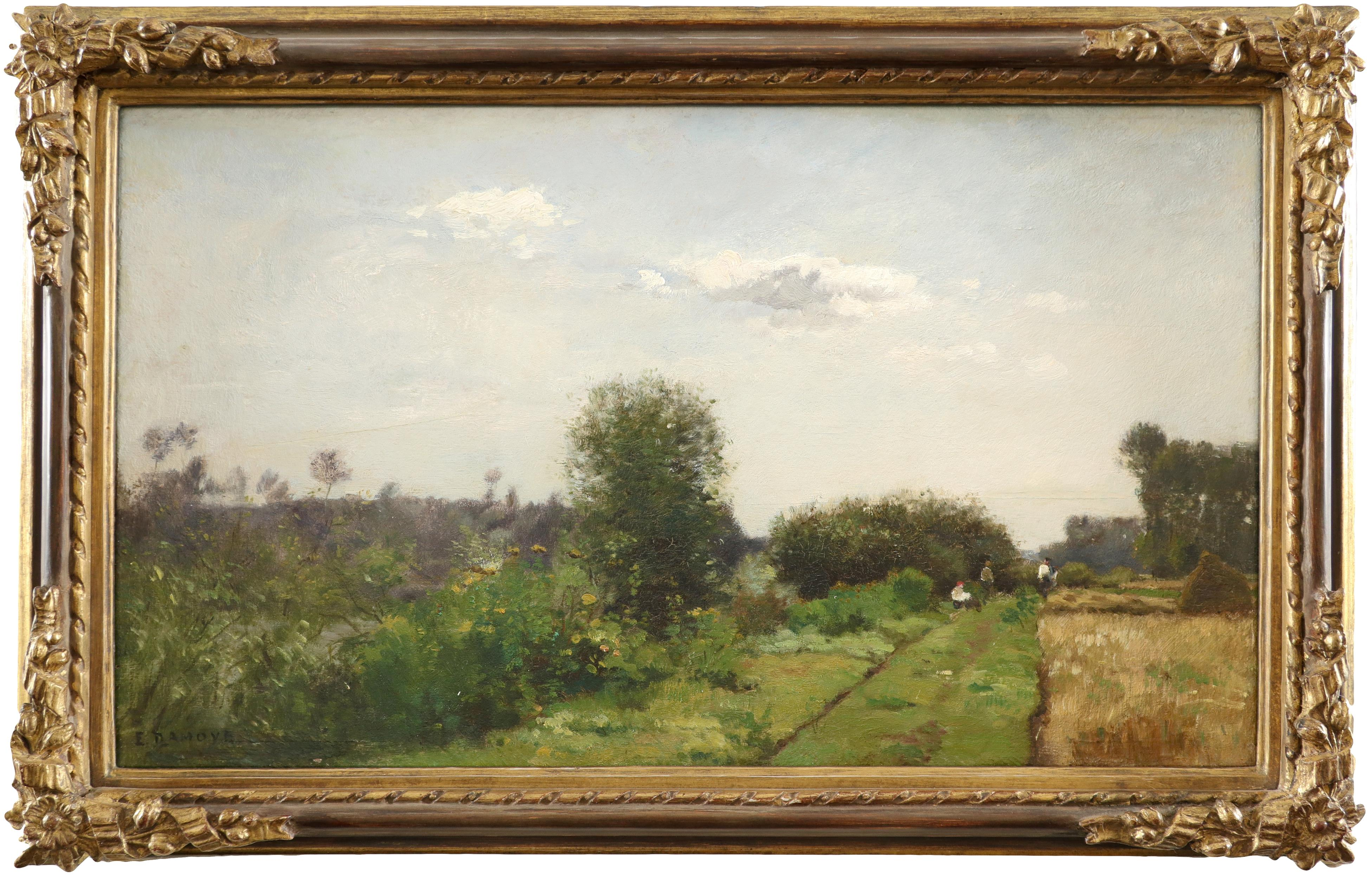 Pierre Emmanuel Damoye (French 1847-1916) Landscape with figures by a wheat field Signed E DAMOYE ( - Image 2 of 3