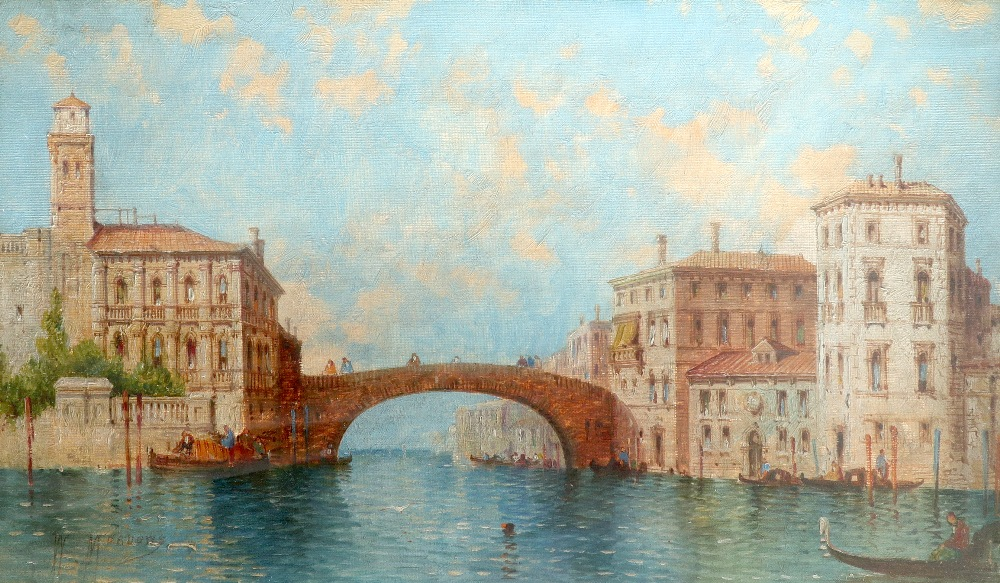 William Meadows (act.1870-1895) Entrance to a canal, Venice Signed W MEADOWS (lower left) Oil on