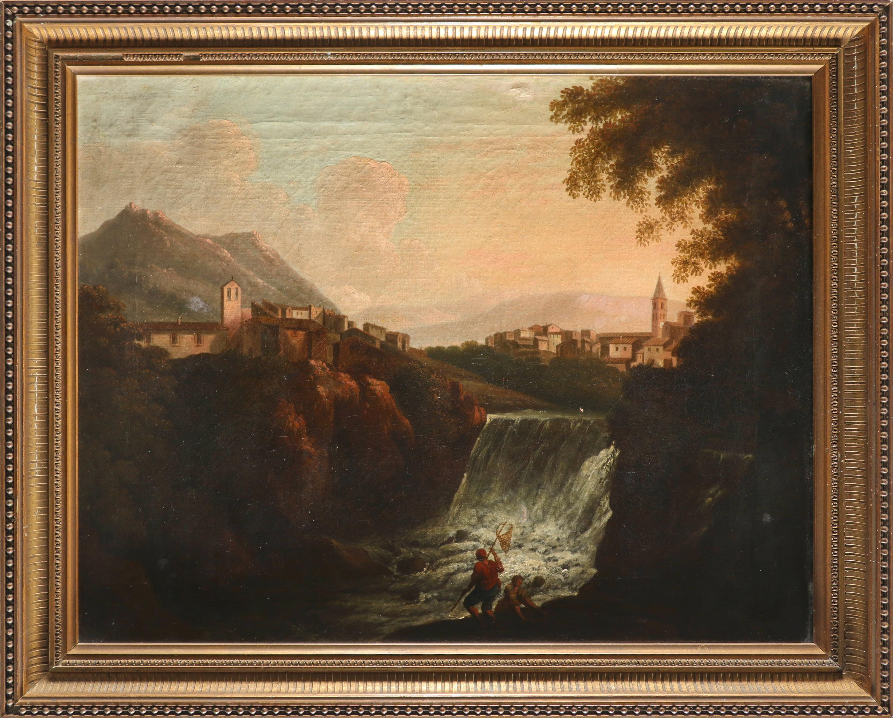 Follower of Richard Wilson Italianate landscape with a fisherman and laundress by a waterfall Oil on - Image 2 of 3