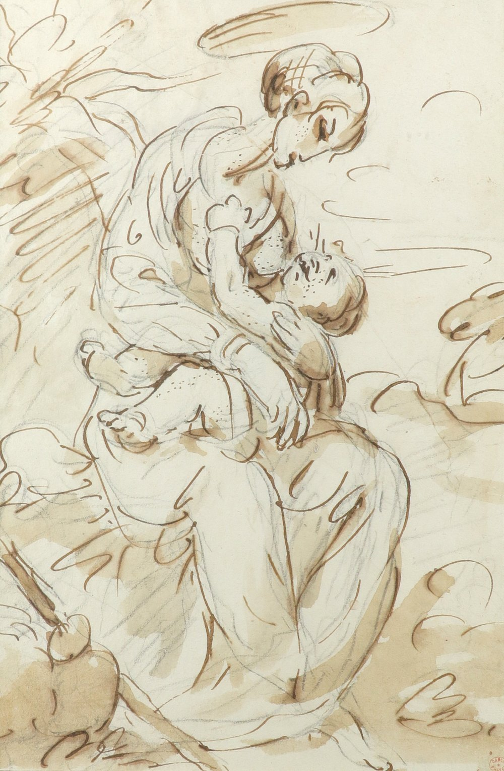 Francesco Appiani (Italian 1704-1792) Madonna and child Pen and brown ink, wash and black chalk 22.4