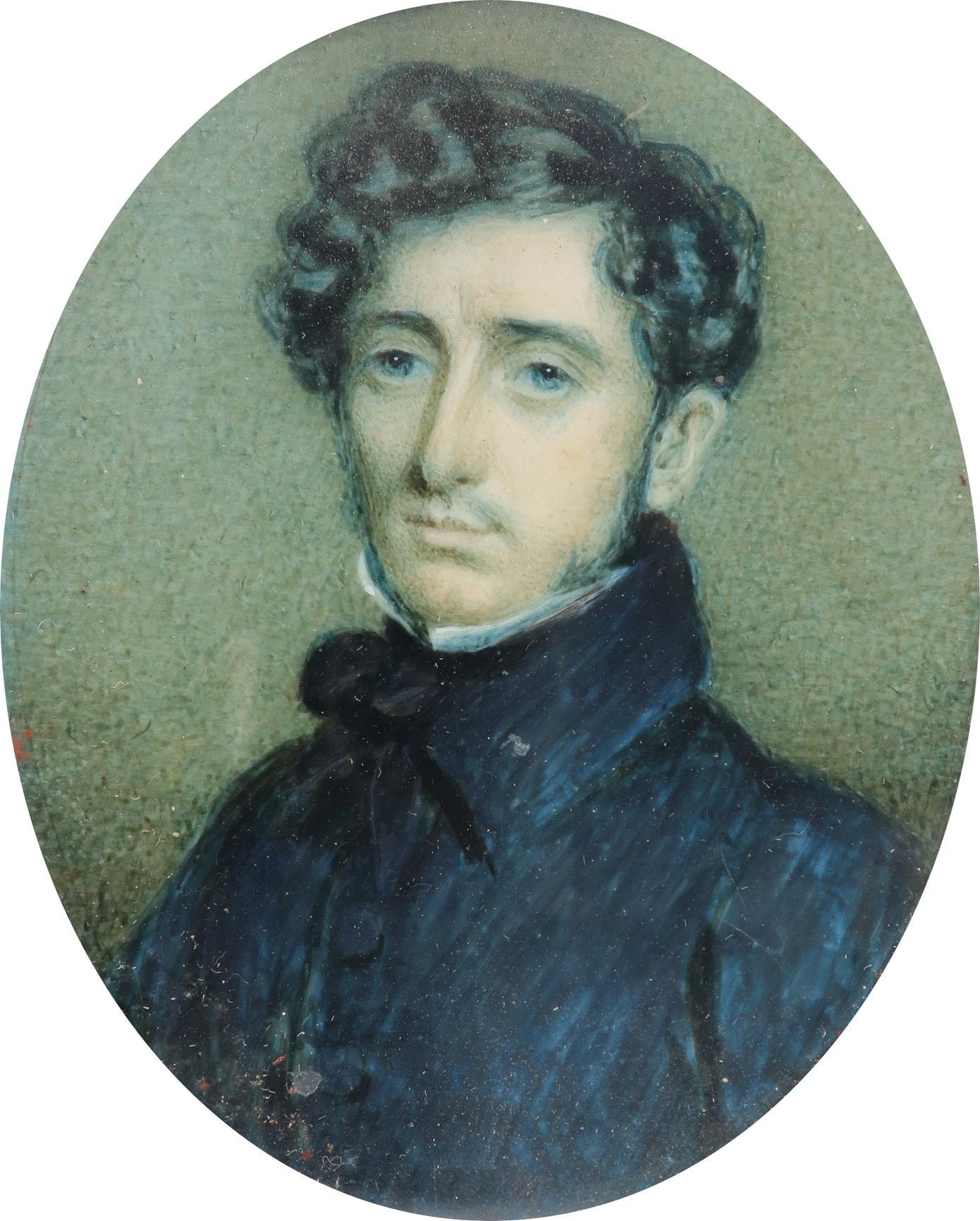 λFrench School Early 19th Century Portrait miniature of a gentleman in a black coat Oval, in a - Image 2 of 6