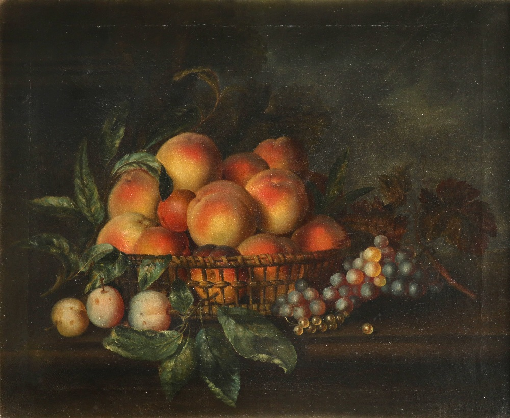 Follower of Eloise Harriet Stannard Still life with a basket of peaches, plums and grapes on a