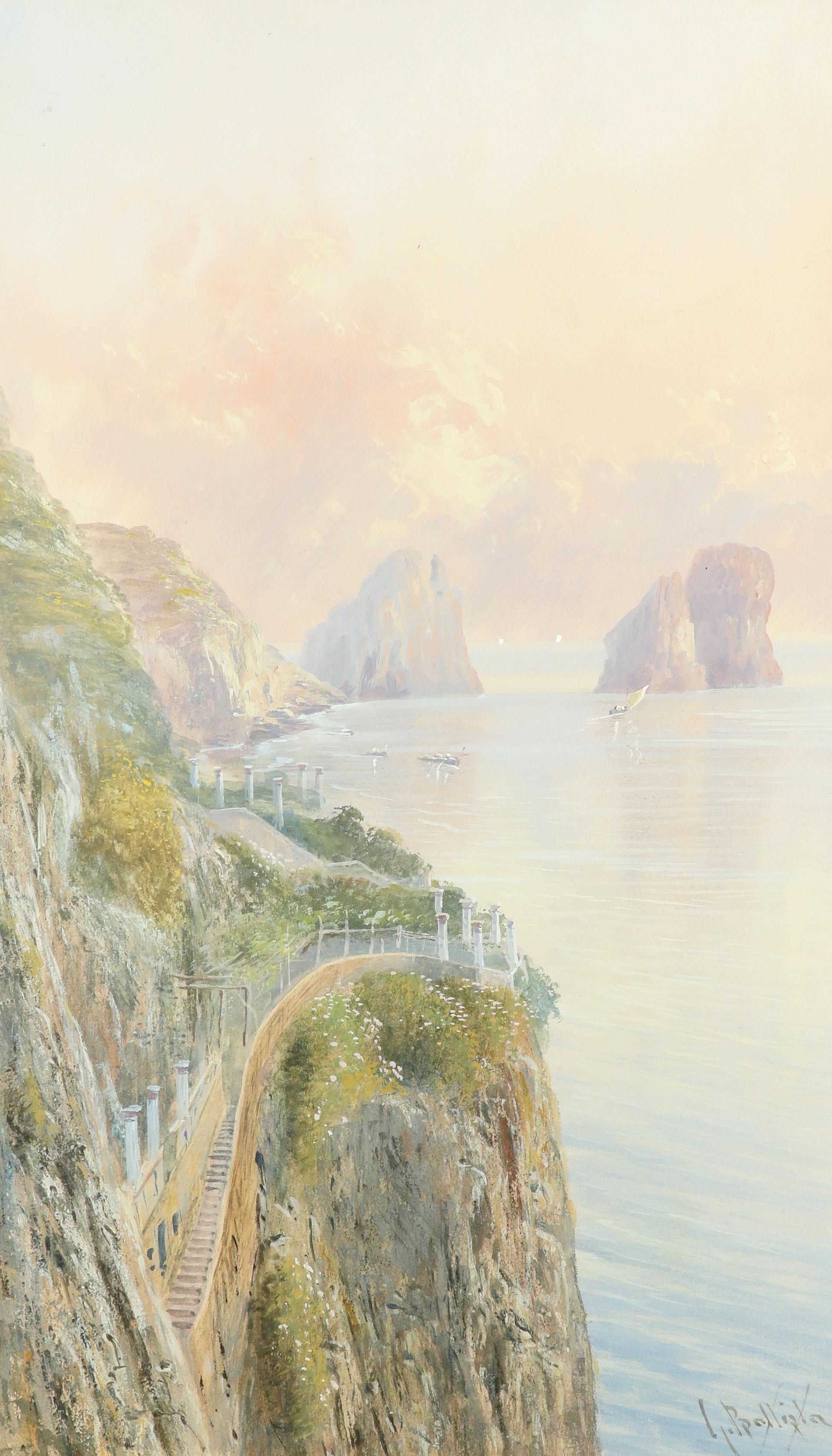 Giovanni Battista (Italian 1858-1925) View of the Faraglioni, Capri; View of a road on the Amalfi