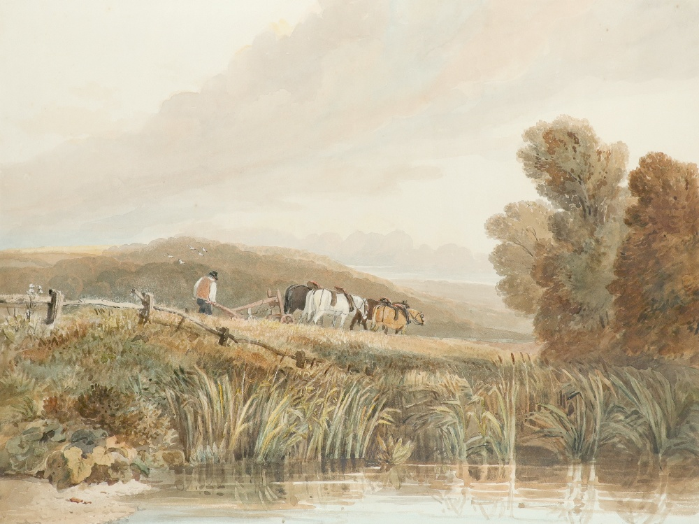 David Cox Snr. RWS, OWS (1783-1859) Ploughing Signed D. Cox (to verso) Pencil and watercolour 38.5 x