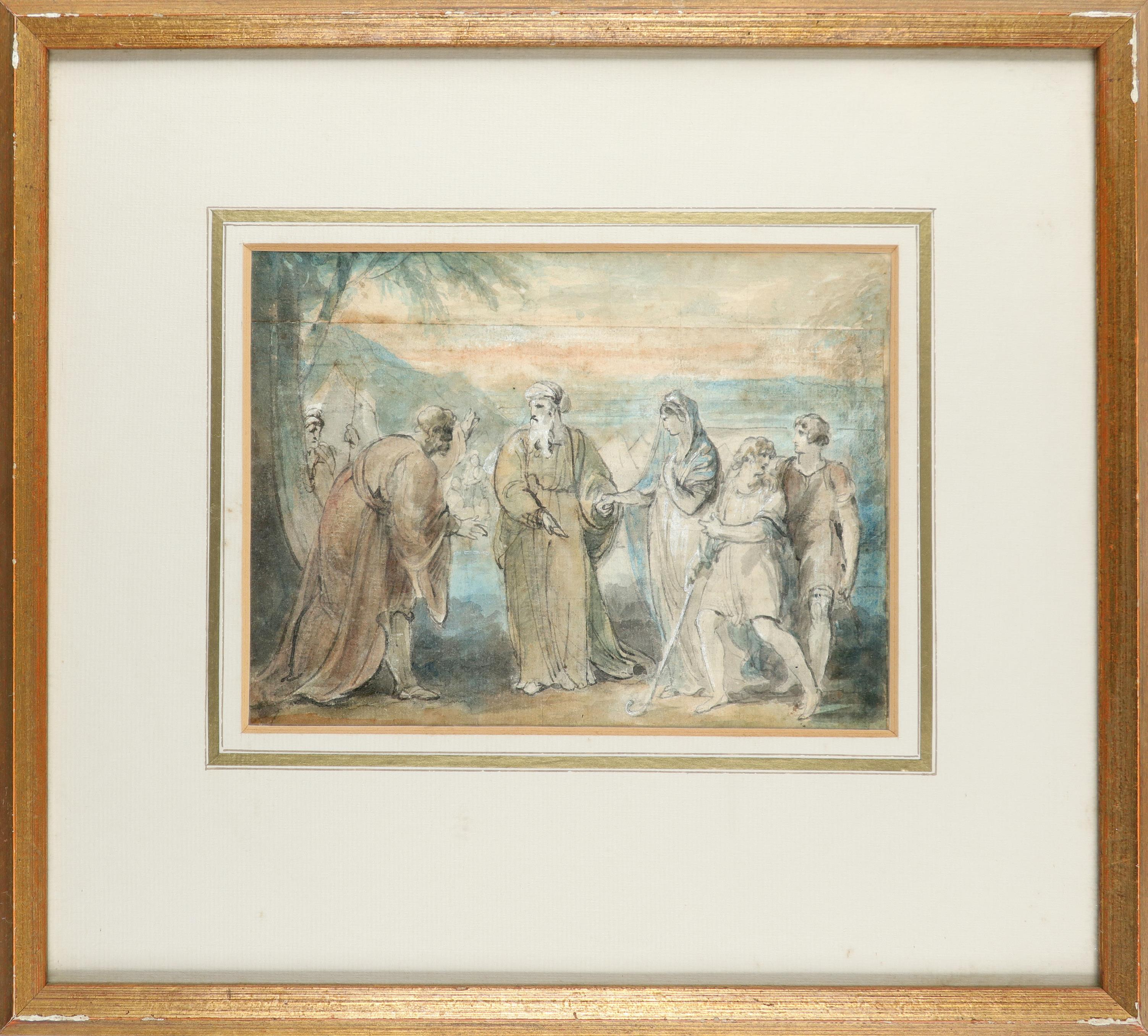 William Hamilton RA (1751-1801) The spies return from Canaan; Figures by an encampment Two, both pen - Image 5 of 6