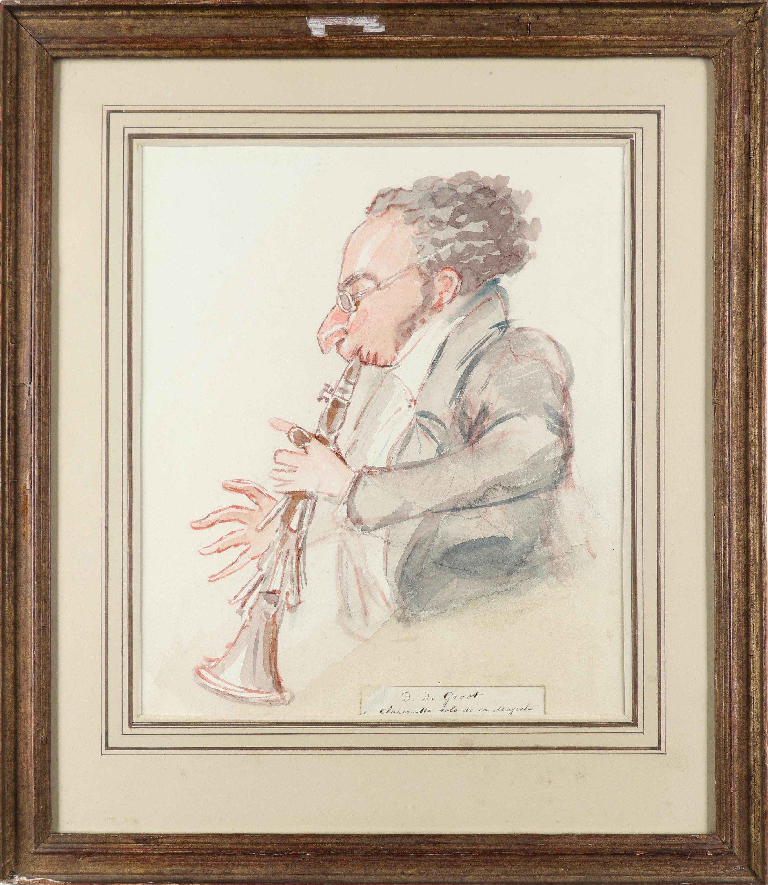 Alfred Edward Chalon RA (Swiss 1780-1860) David de Groot playing the clarinet Pencil, pen and ink, - Image 2 of 3