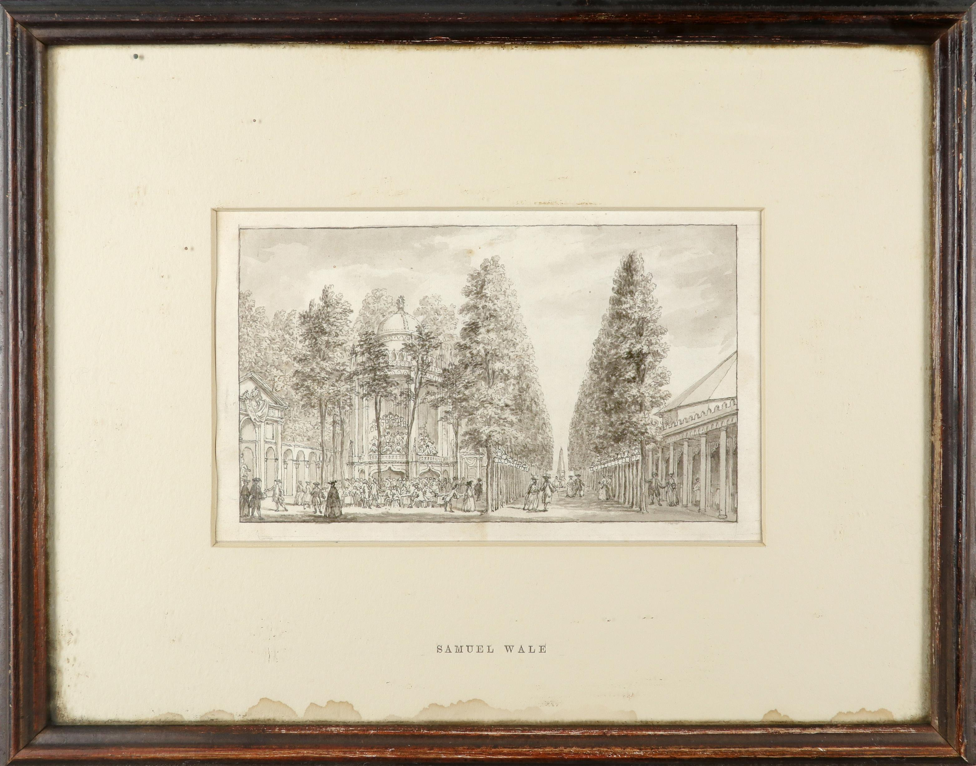 Samuel Wale RA (1721-1786) A view of the entrance of Vauxhall Gardens Pen and ink and grey wash, - Image 2 of 6