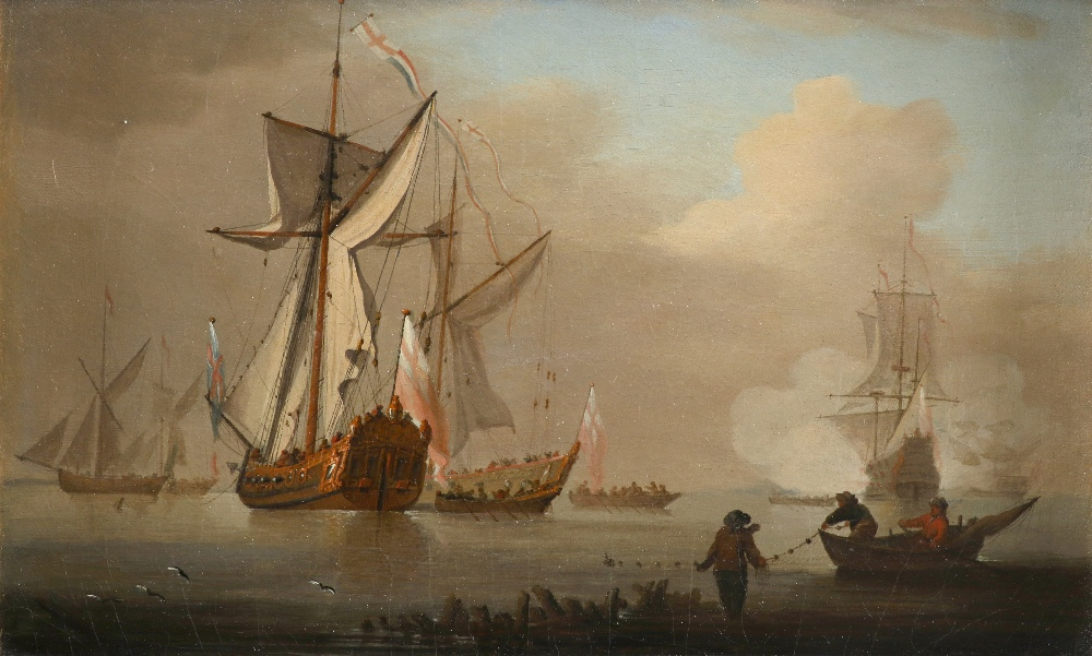 Peter Monamy (1681-1749) Men-of-war at anchor Oil on canvas 28 x 45.2cm; 11 x 17¾in Provenance:
