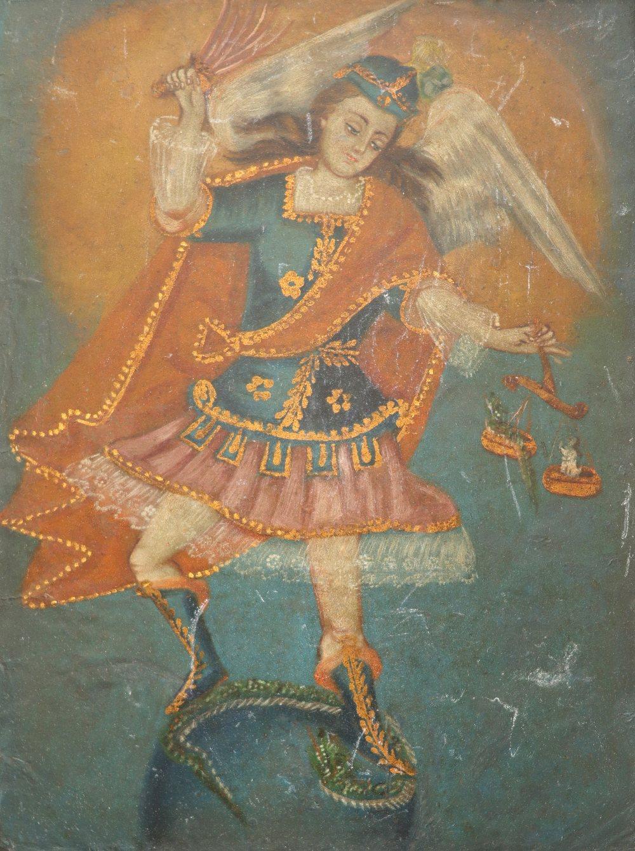 Cuzco School St. Michael vanquishing the devil Oil on paper laid on board 27.4 x 19.3cm; 10¾ x 7½in