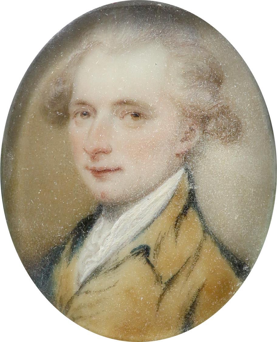 λEnglish School 18th Century Portrait miniature of a gentleman, in a brown coat and powdered hair - Image 2 of 3