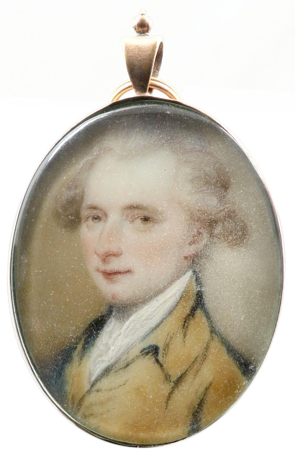 λEnglish School 18th Century Portrait miniature of a gentleman, in a brown coat and powdered hair
