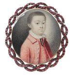 λEnglish School Late 18th Century Portrait miniature of a boy, wearing a red coat and waistcoat