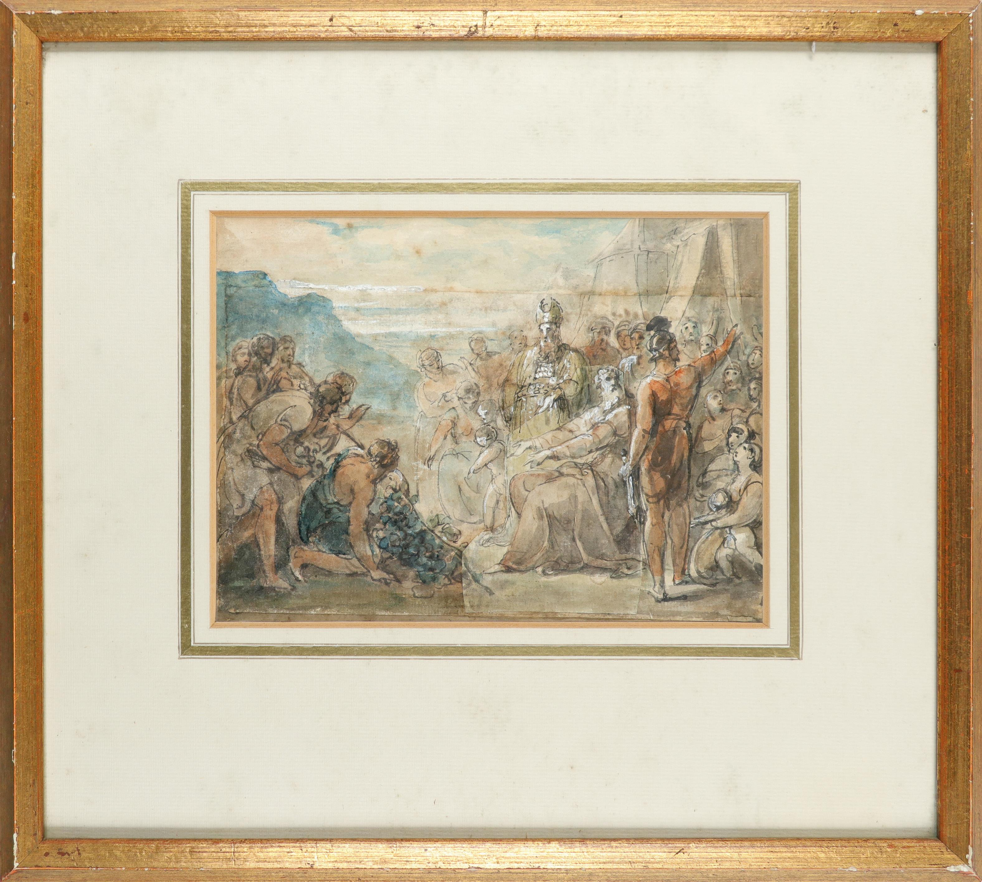 William Hamilton RA (1751-1801) The spies return from Canaan; Figures by an encampment Two, both pen - Image 2 of 6