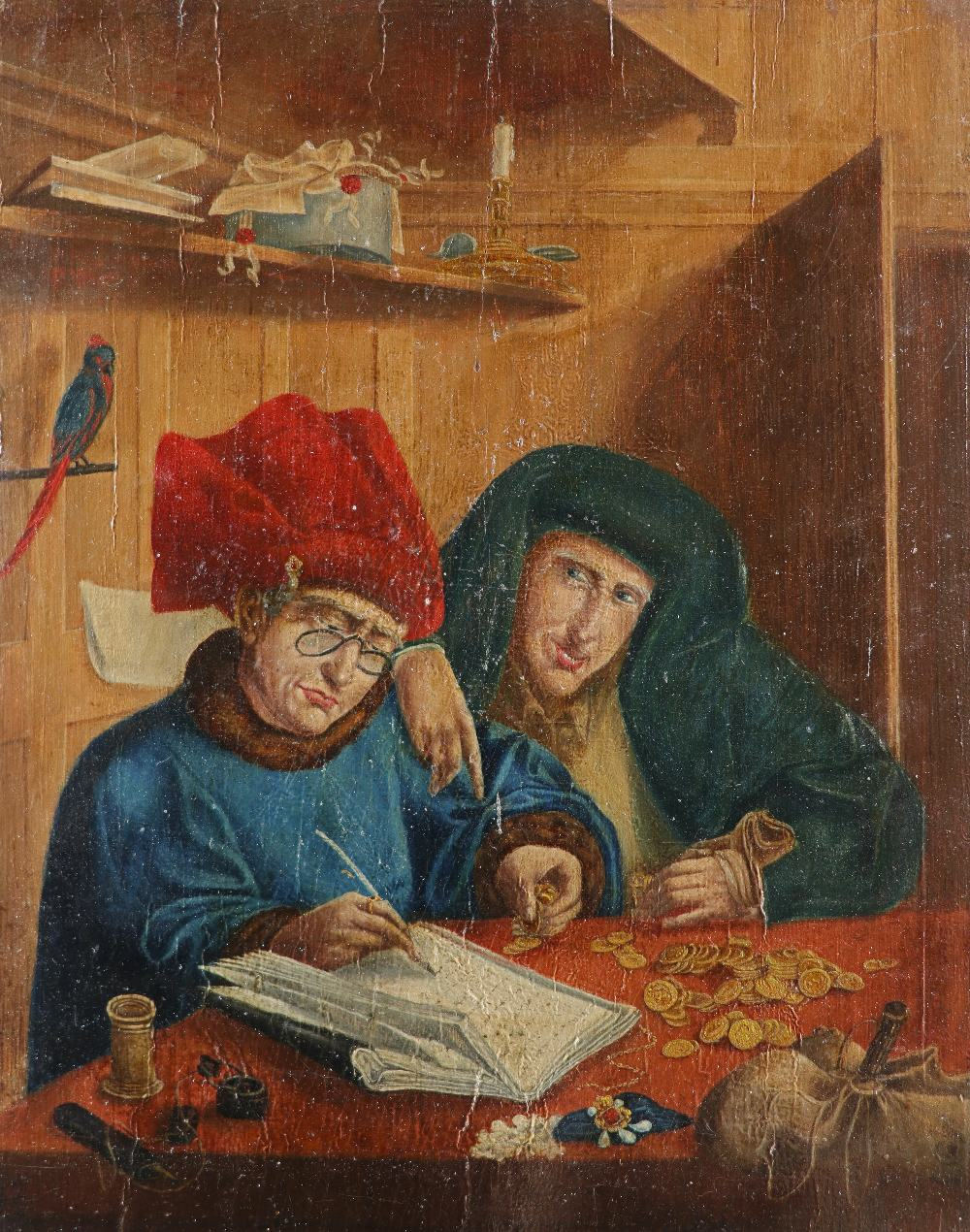 After Marinus van Reymerswale Two tax collectors Oil on panel 35.5 x 28.4cm; 14 x 11¼in Unframed