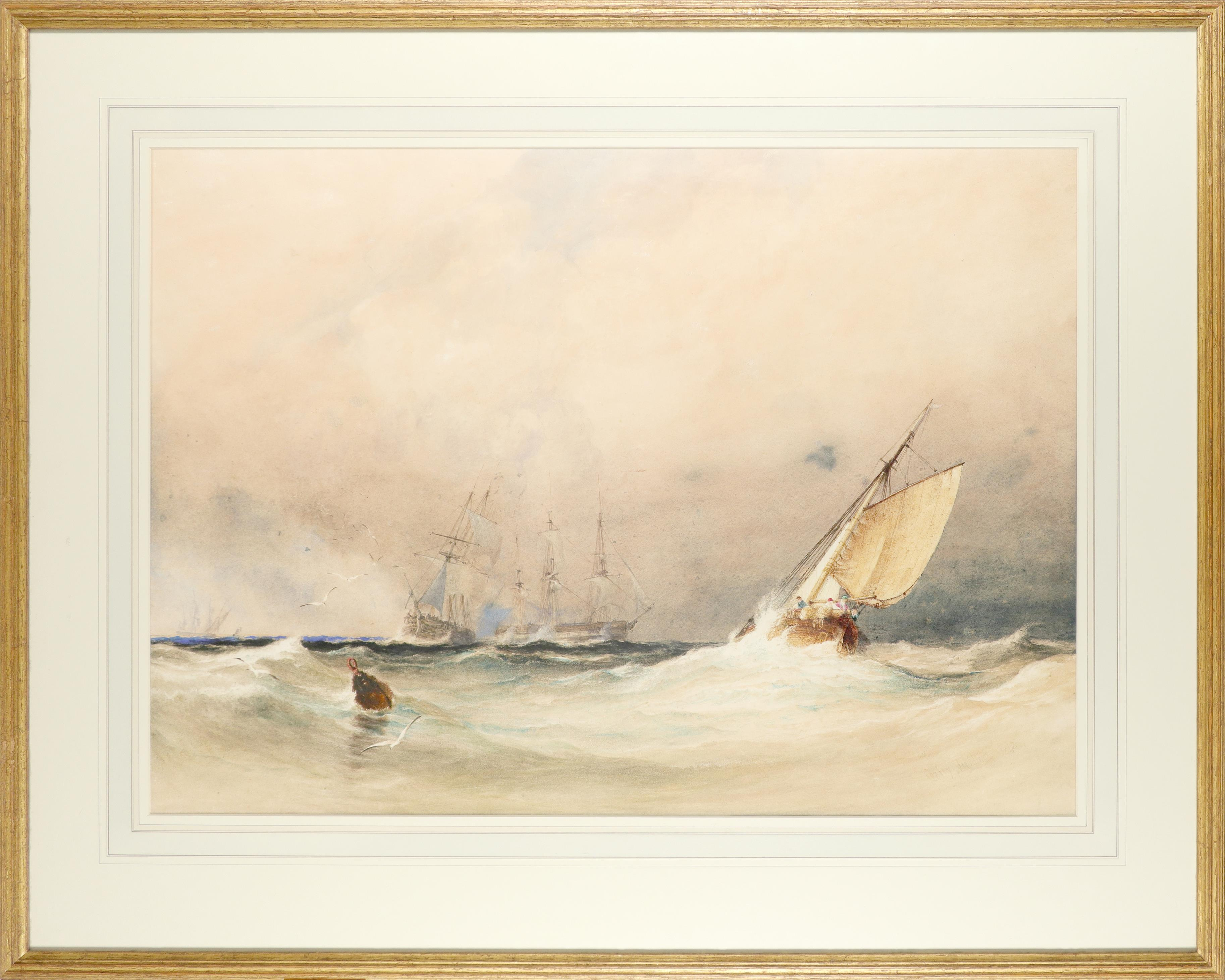 Anthony Vandyke Copley Fielding POWS (1787-1855) Ships in choppy waters Signed and dated Copley - Image 2 of 3