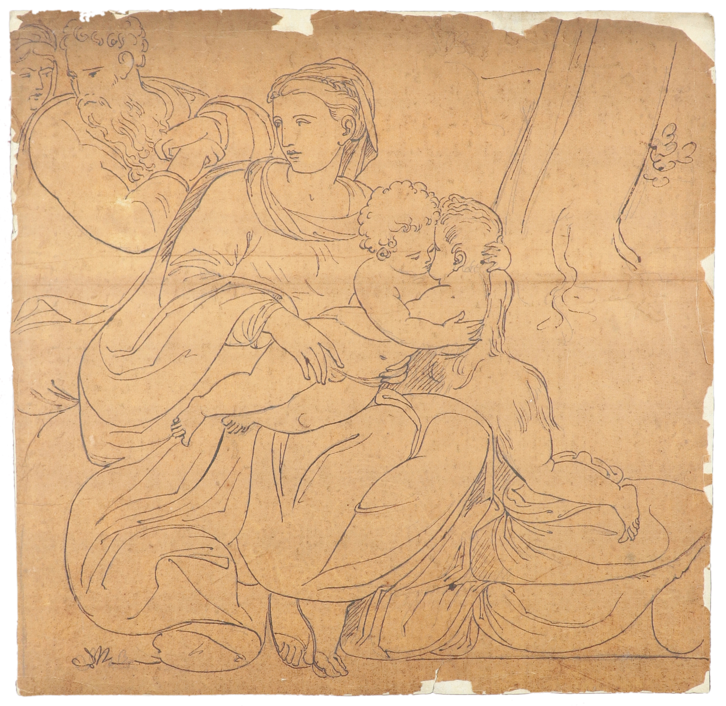 Samuel Woodforde RA (1763-1817) Victory, holding a crown and palm, with a putto; The muse - Image 7 of 9