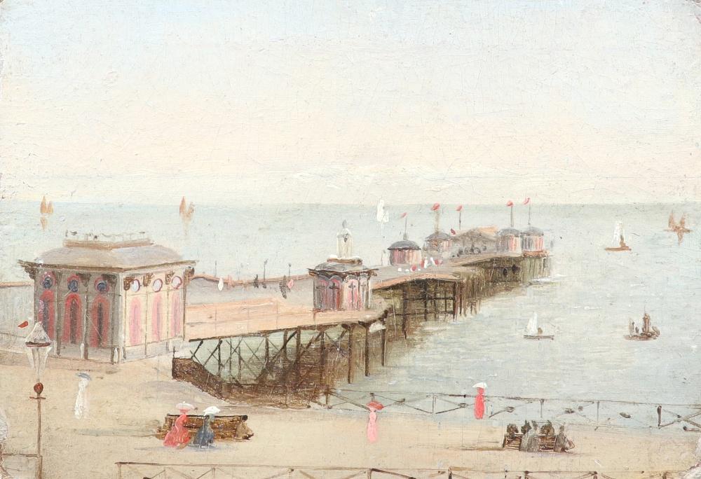 British School c.1900 Elegant figures strolling by the pier Oil on board 8.8 x 12.1cm; 3½ x 4¾in
