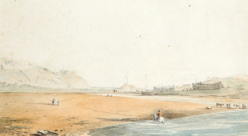 John Varley Snr. (1778-1842) Coastal scene with Harlech Castle in the distance Signed and dated J.