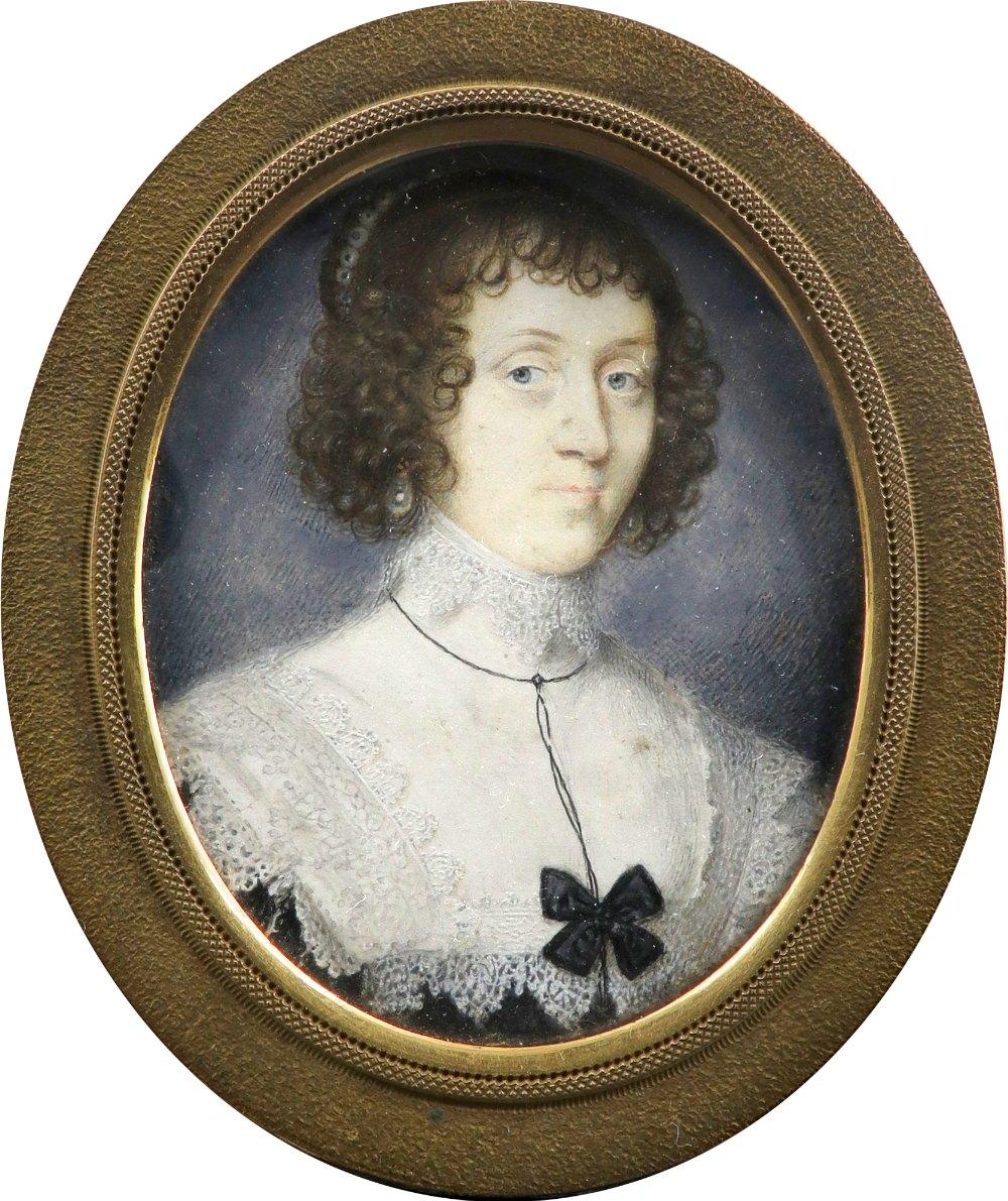 John Hoskins (c.1590-1665) Portrait miniature of a lady, wearing pearl earrings, a lace-trimmed